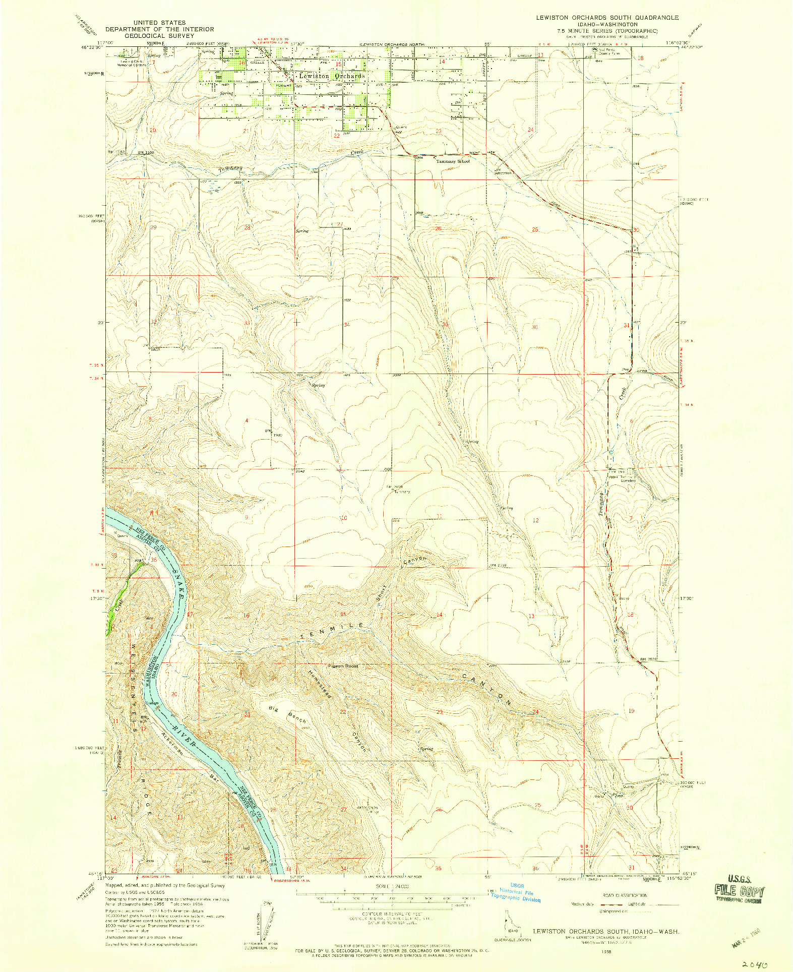 USGS 1:24000-SCALE QUADRANGLE FOR LEWISTON ORCHARDS SOUTH, ID 1958