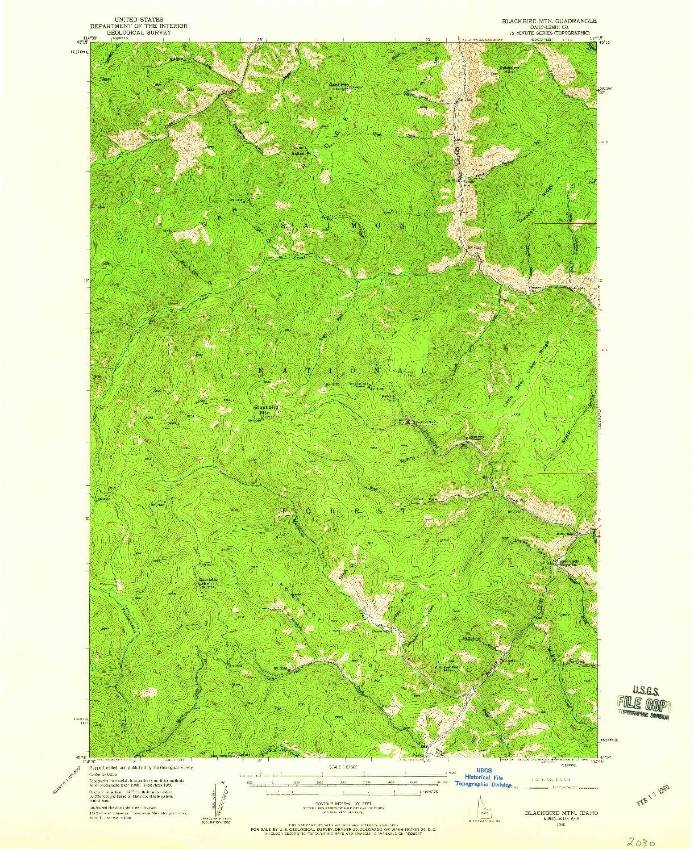 USGS 1:62500-SCALE QUADRANGLE FOR BLACKBIRD MTN, ID 1950