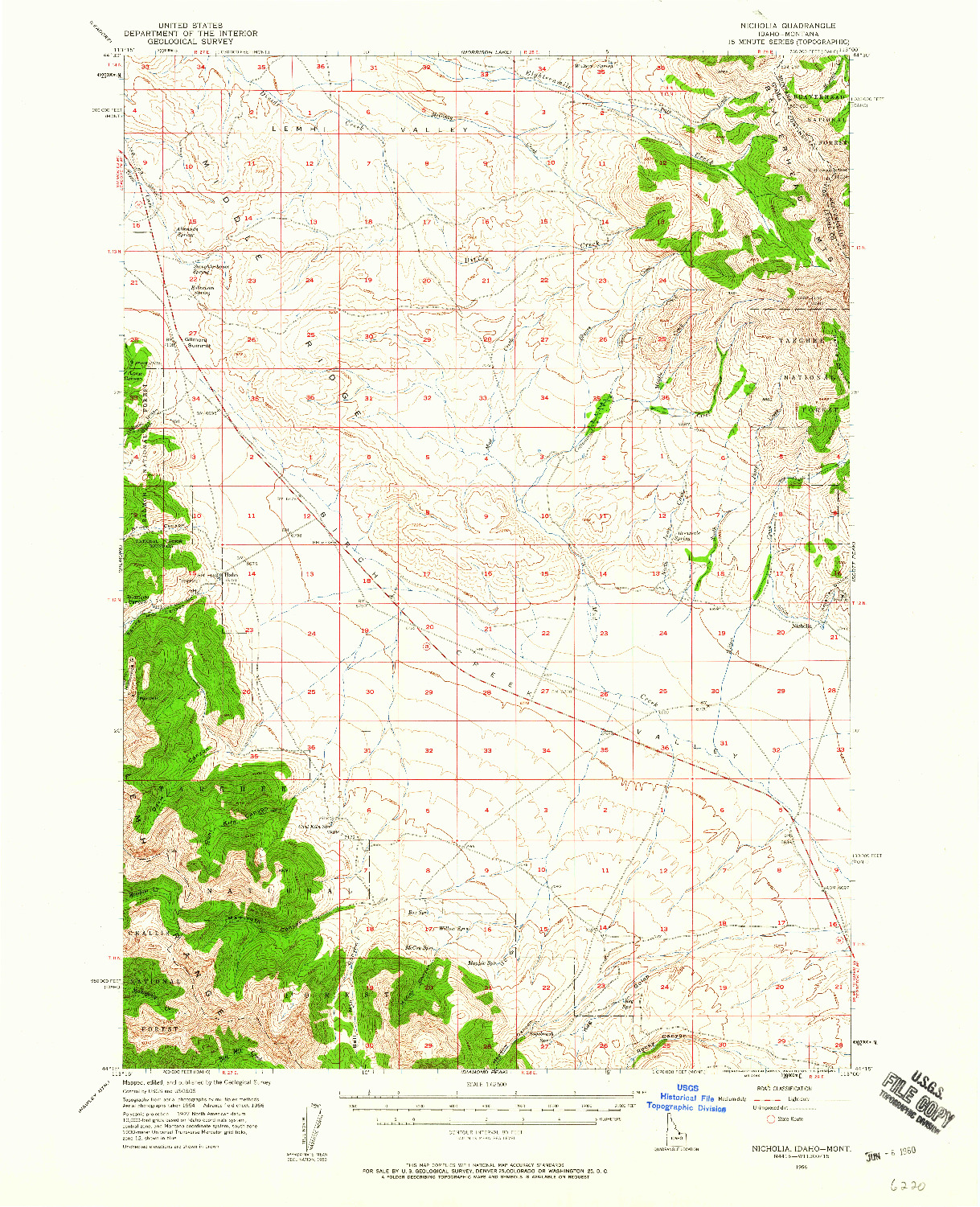 USGS 1:62500-SCALE QUADRANGLE FOR NICHOLIA, ID 1956