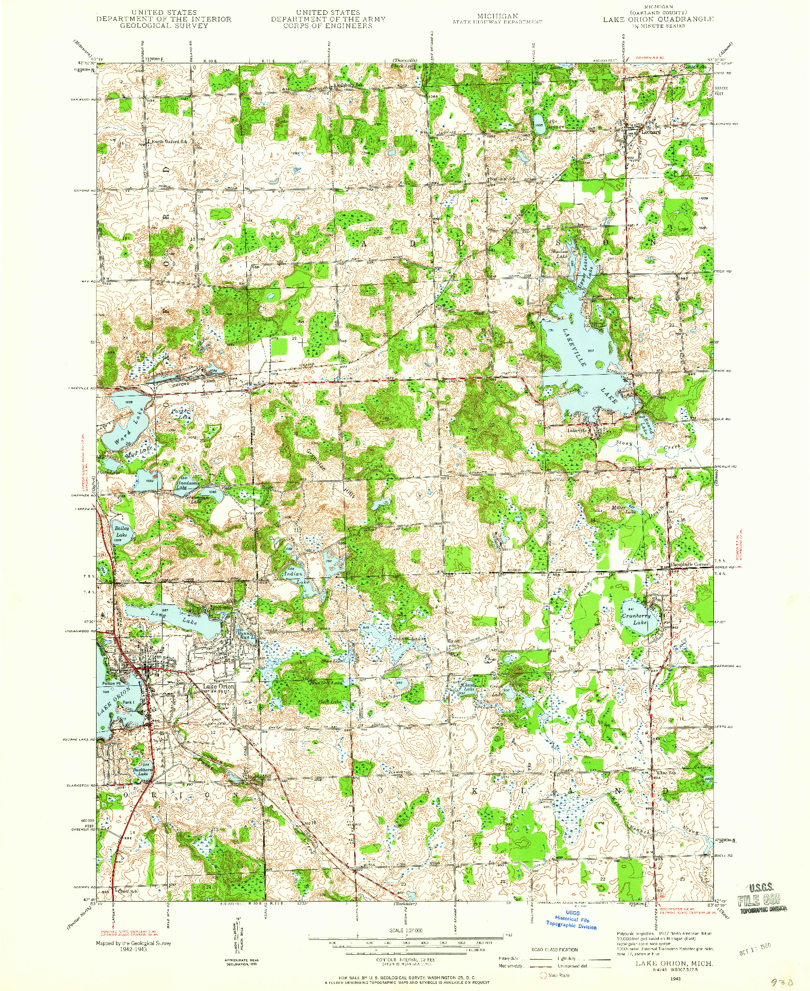 USGS 1:24000-SCALE QUADRANGLE FOR LAKE ORION, MI 1943