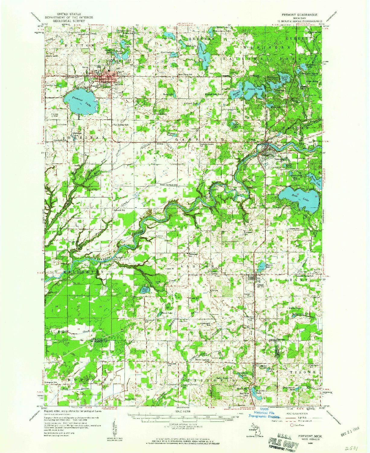 USGS 1:62500-SCALE QUADRANGLE FOR FREMONT, MI 1958