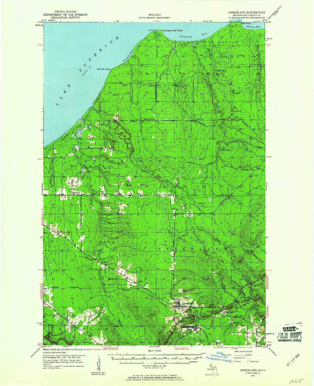 USGS 1:62500-SCALE QUADRANGLE FOR GREENLAND, MI 1950