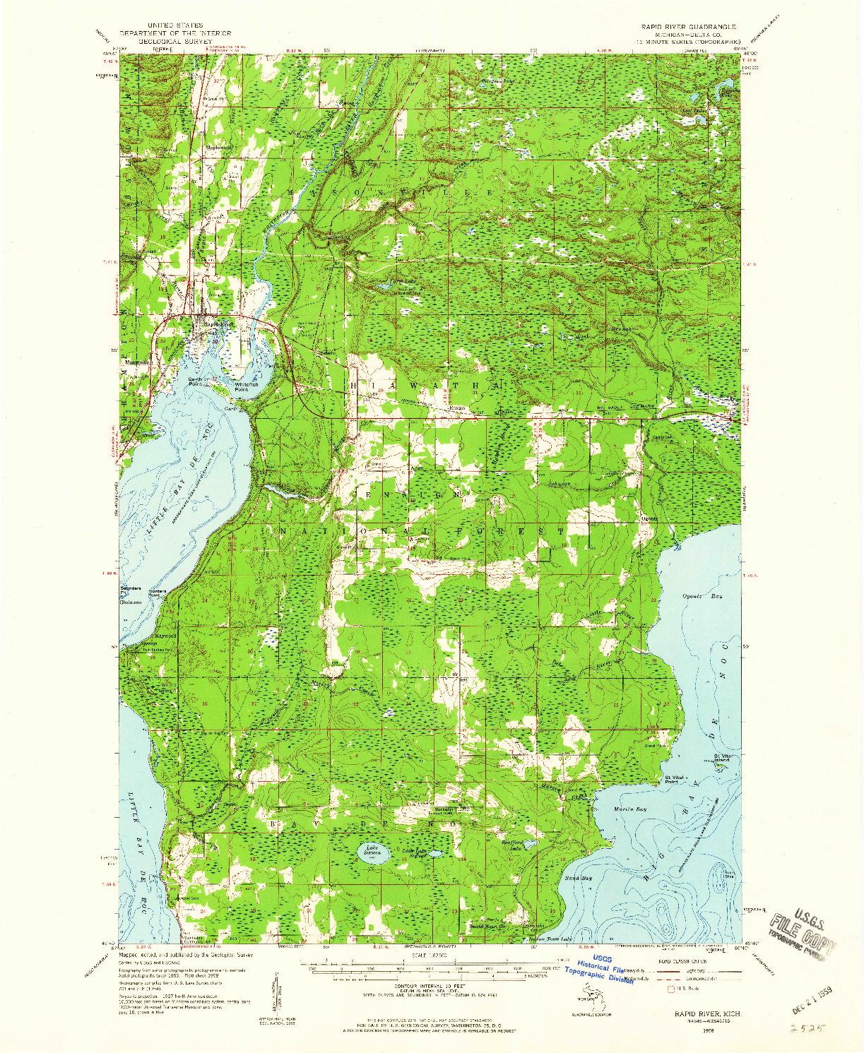 USGS 1:62500-SCALE QUADRANGLE FOR RAPID RIVER, MI 1958