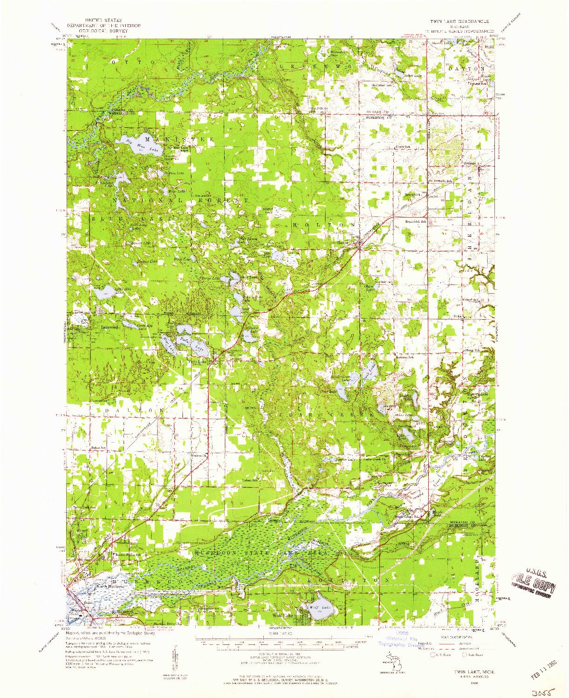 USGS 1:62500-SCALE QUADRANGLE FOR TWIN LAKE, MI 1958