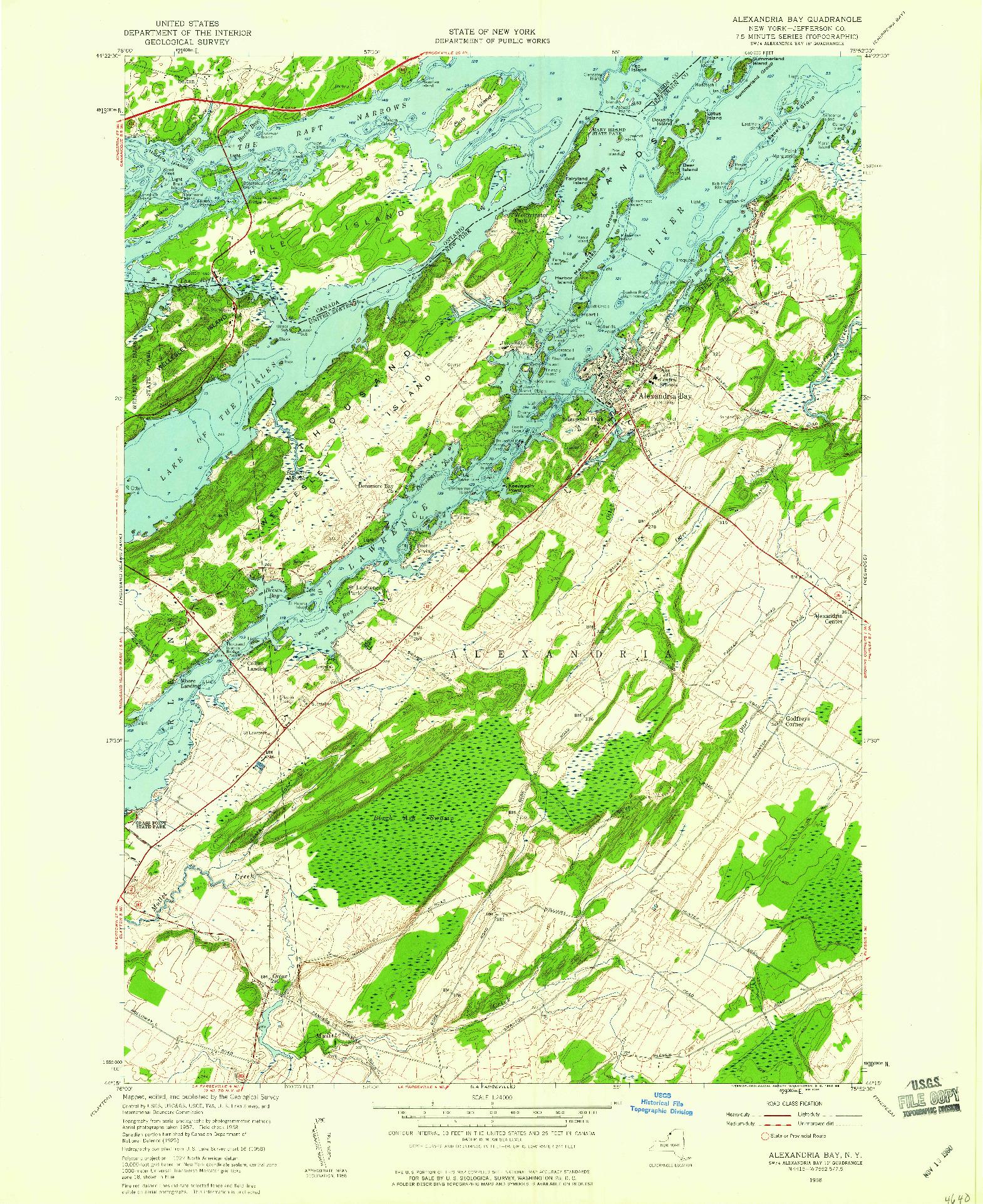 USGS 1:24000-SCALE QUADRANGLE FOR ALEXANDRIA BAY, NY 1958