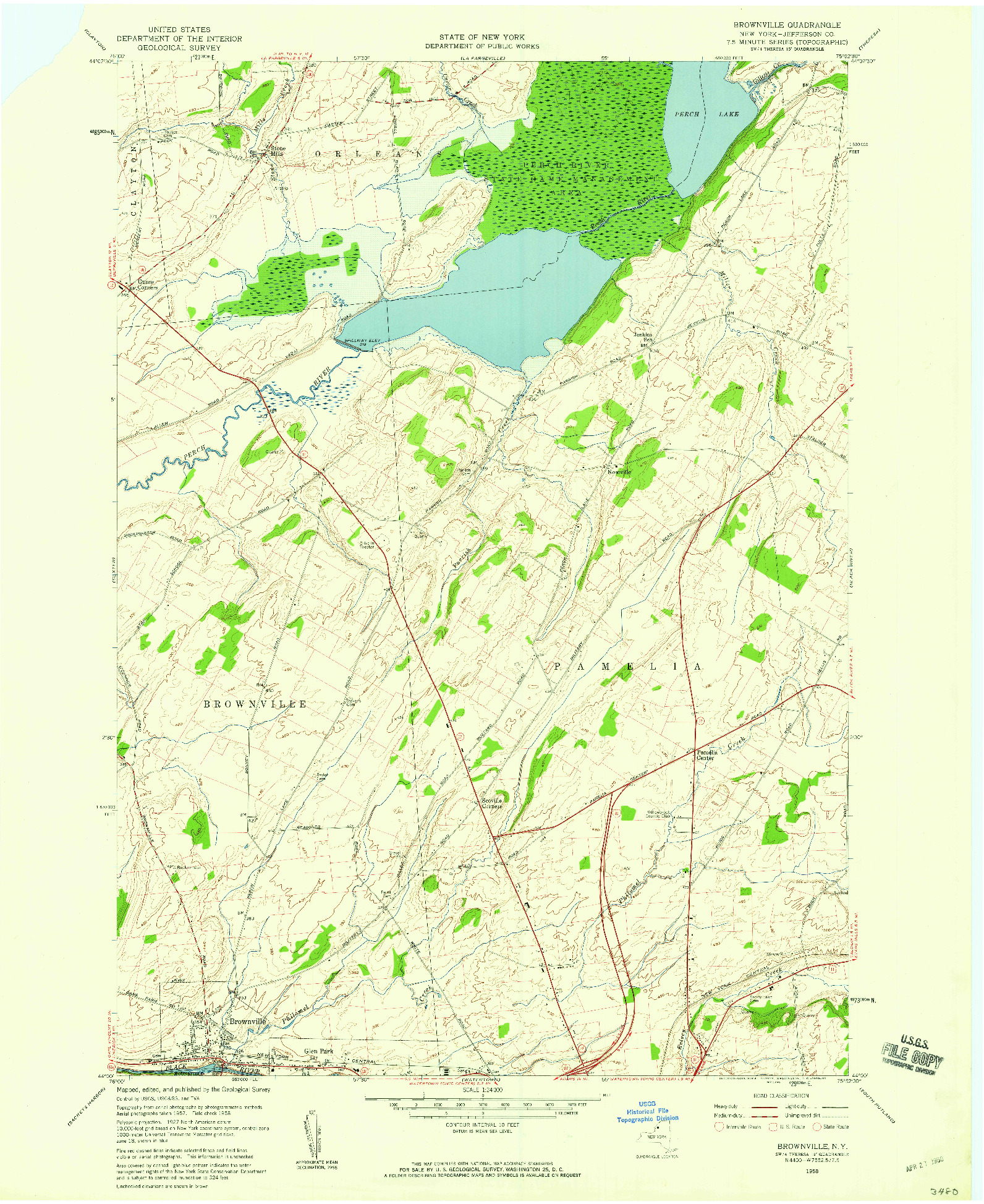 USGS 1:24000-SCALE QUADRANGLE FOR BROWNVILLE, NY 1958