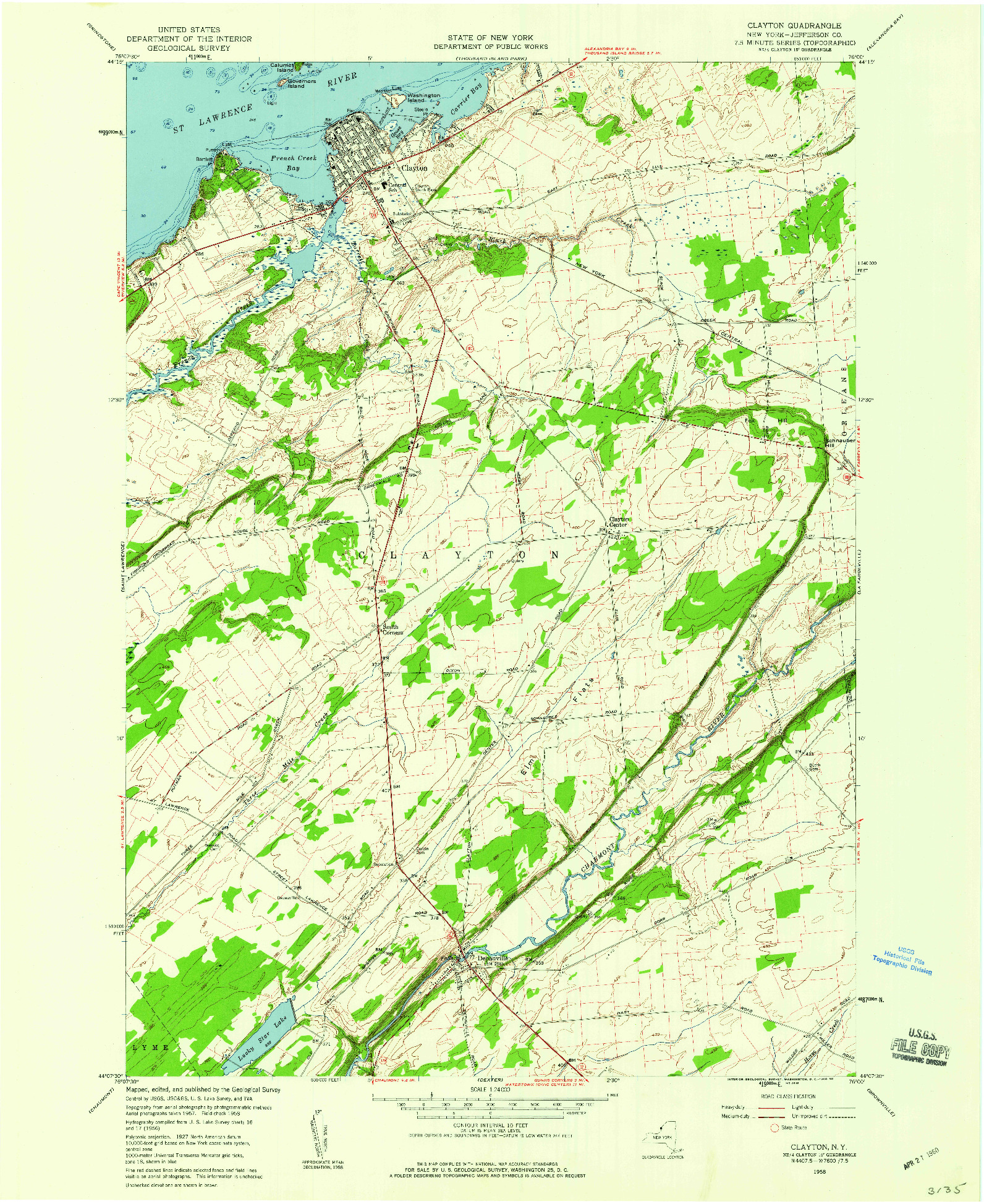 USGS 1:24000-SCALE QUADRANGLE FOR CLAYTON, NY 1958