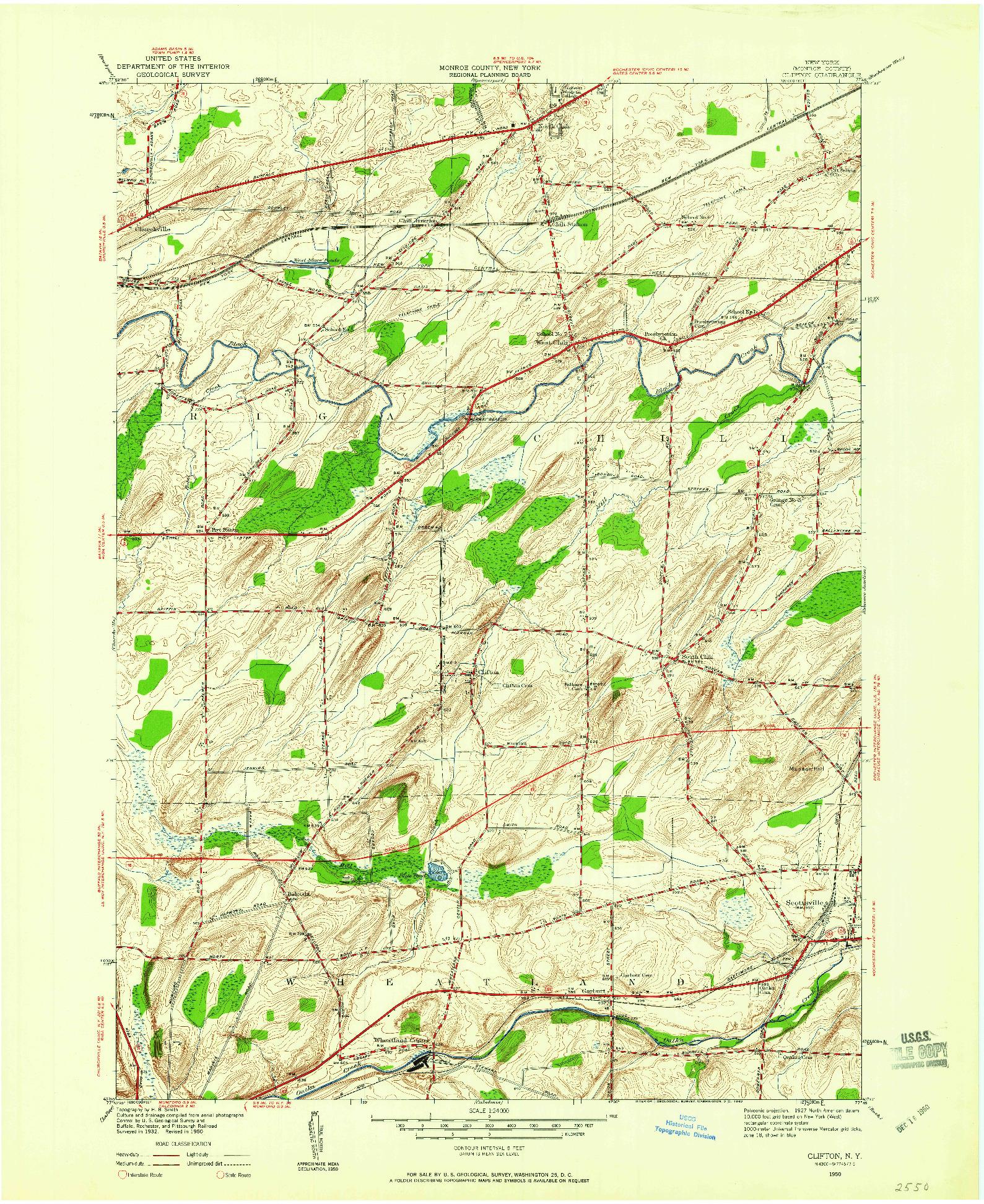 USGS 1:24000-SCALE QUADRANGLE FOR CLIFTON, NY 1950