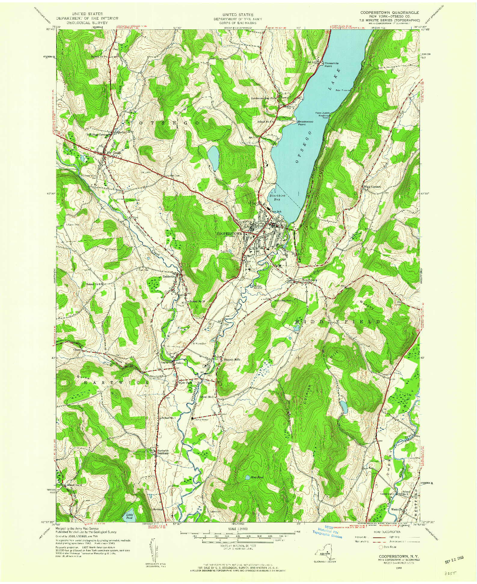 USGS 1:24000-SCALE QUADRANGLE FOR COOPERSTOWN, NY 1943
