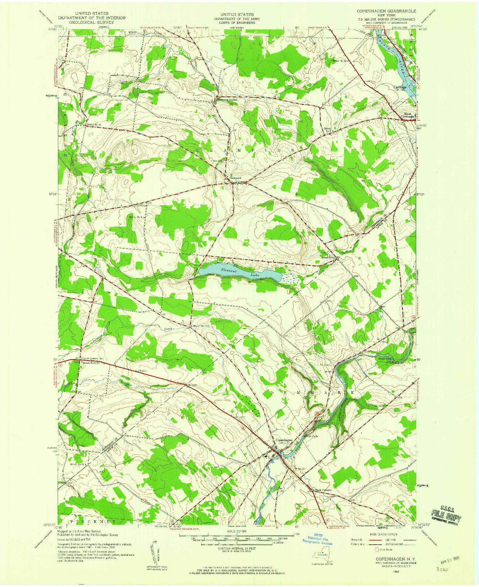USGS 1:24000-SCALE QUADRANGLE FOR COPENHAGEN, NY 1942