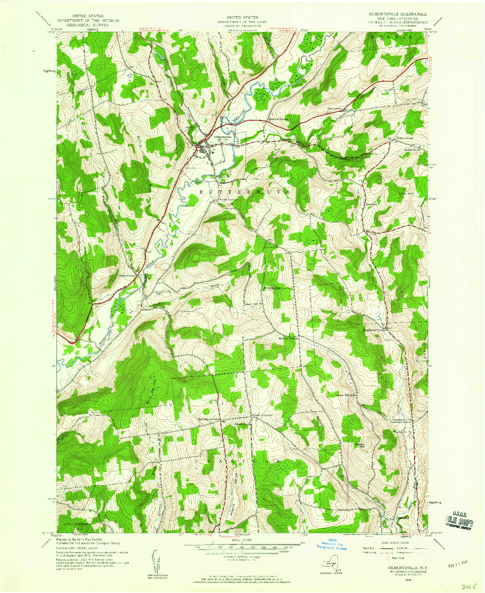 USGS 1:24000-SCALE QUADRANGLE FOR GILBERTSVILLE, NY 1943