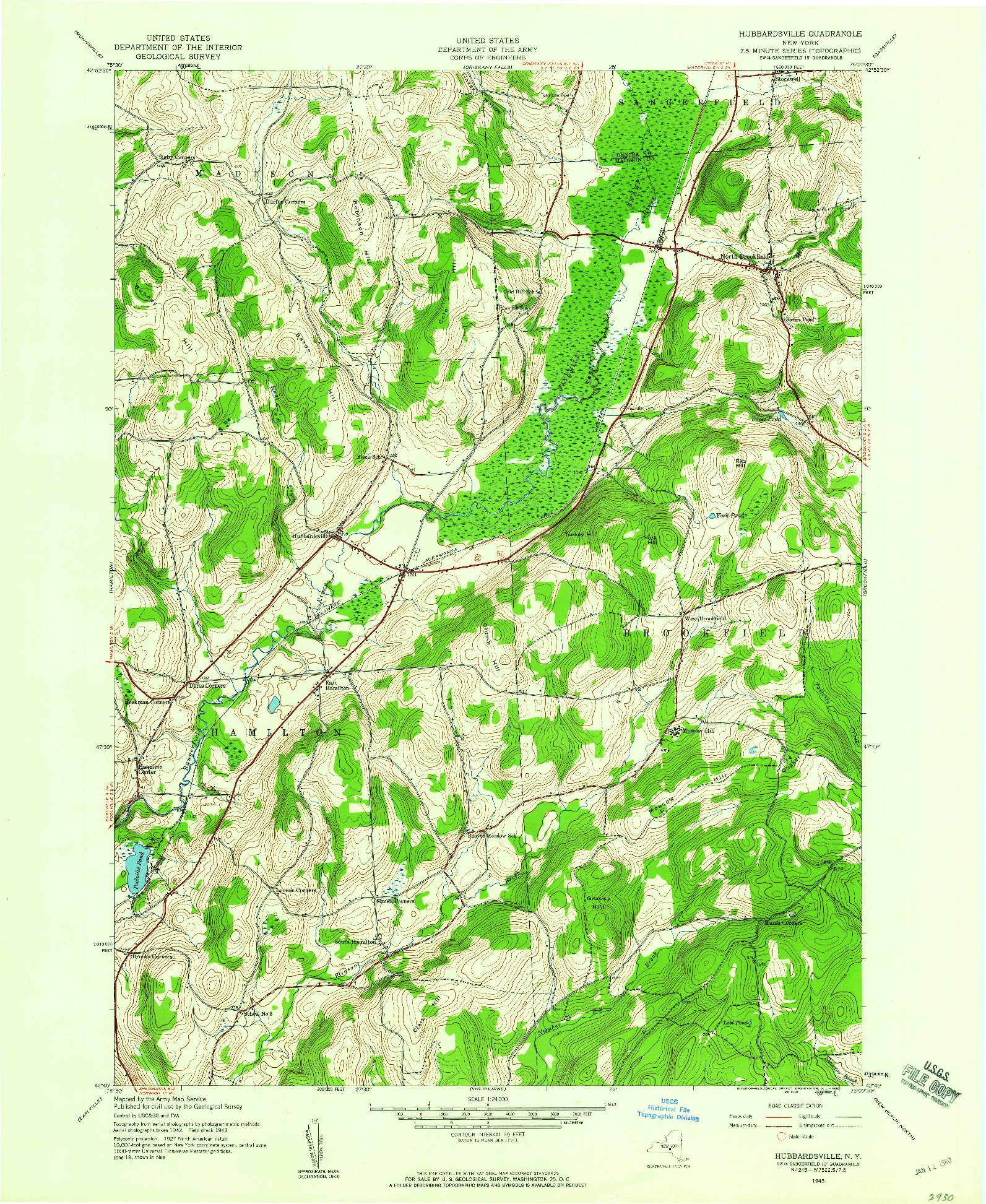 USGS 1:24000-SCALE QUADRANGLE FOR HUBBARDSVILLE, NY 1943