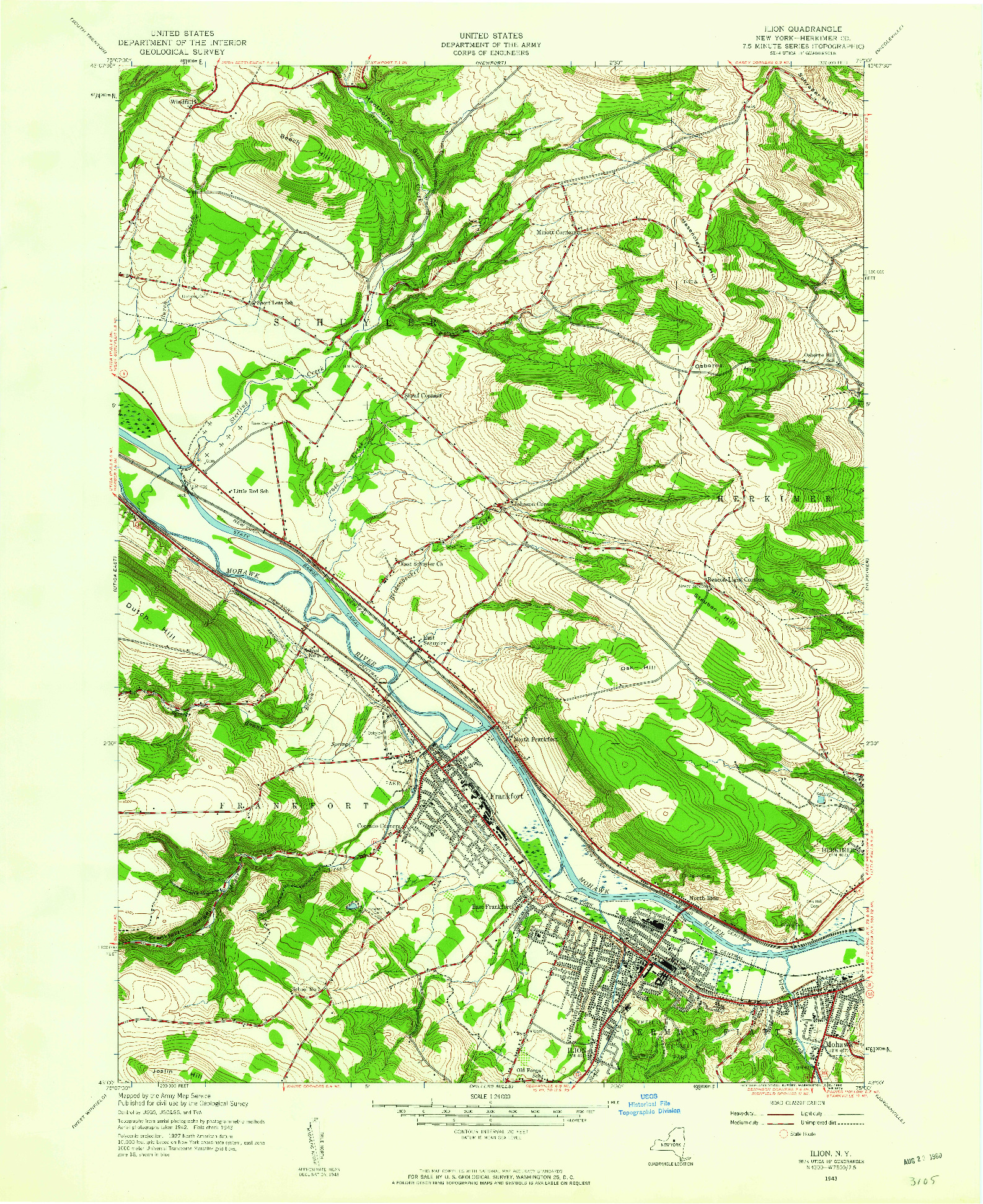USGS 1:24000-SCALE QUADRANGLE FOR ILION, NY 1943