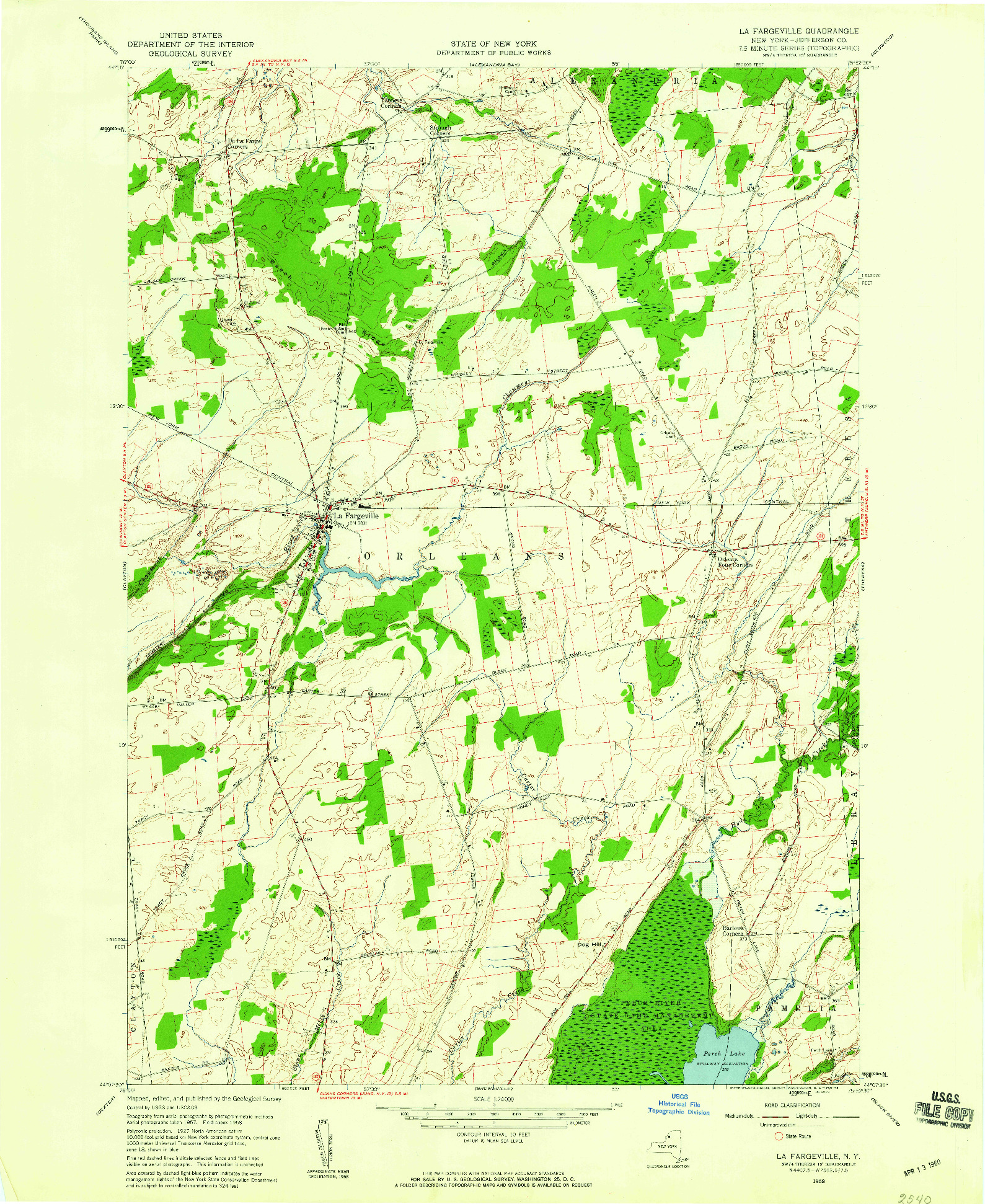 USGS 1:24000-SCALE QUADRANGLE FOR LA FARGEVILLE, NY 1958