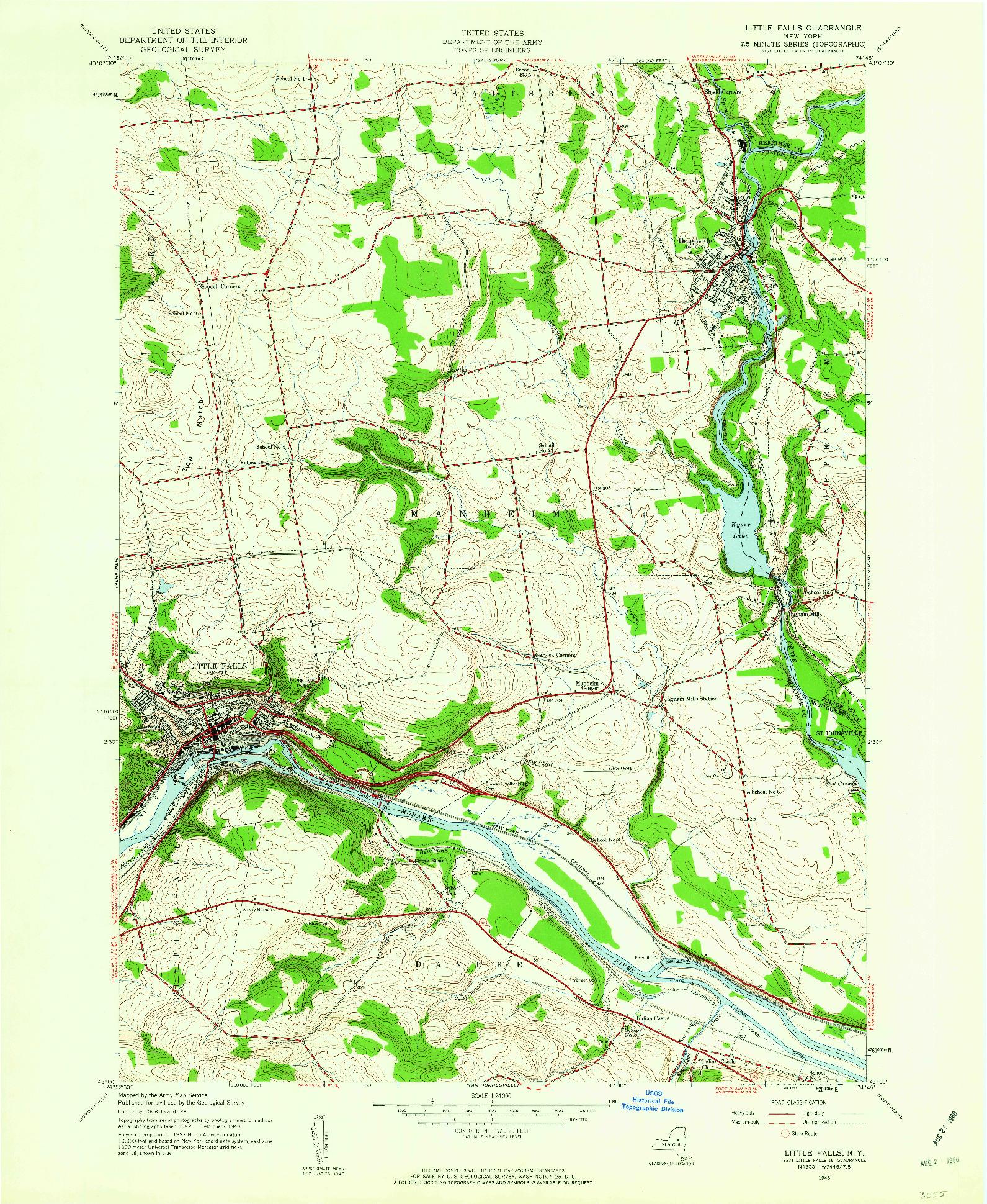 USGS 1:24000-SCALE QUADRANGLE FOR LITTLE FALLS, NY 1943