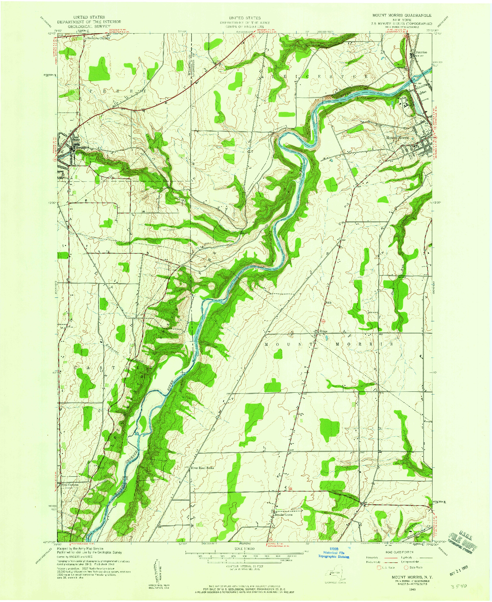 USGS 1:24000-SCALE QUADRANGLE FOR MOUNT MORRIS, NY 1943