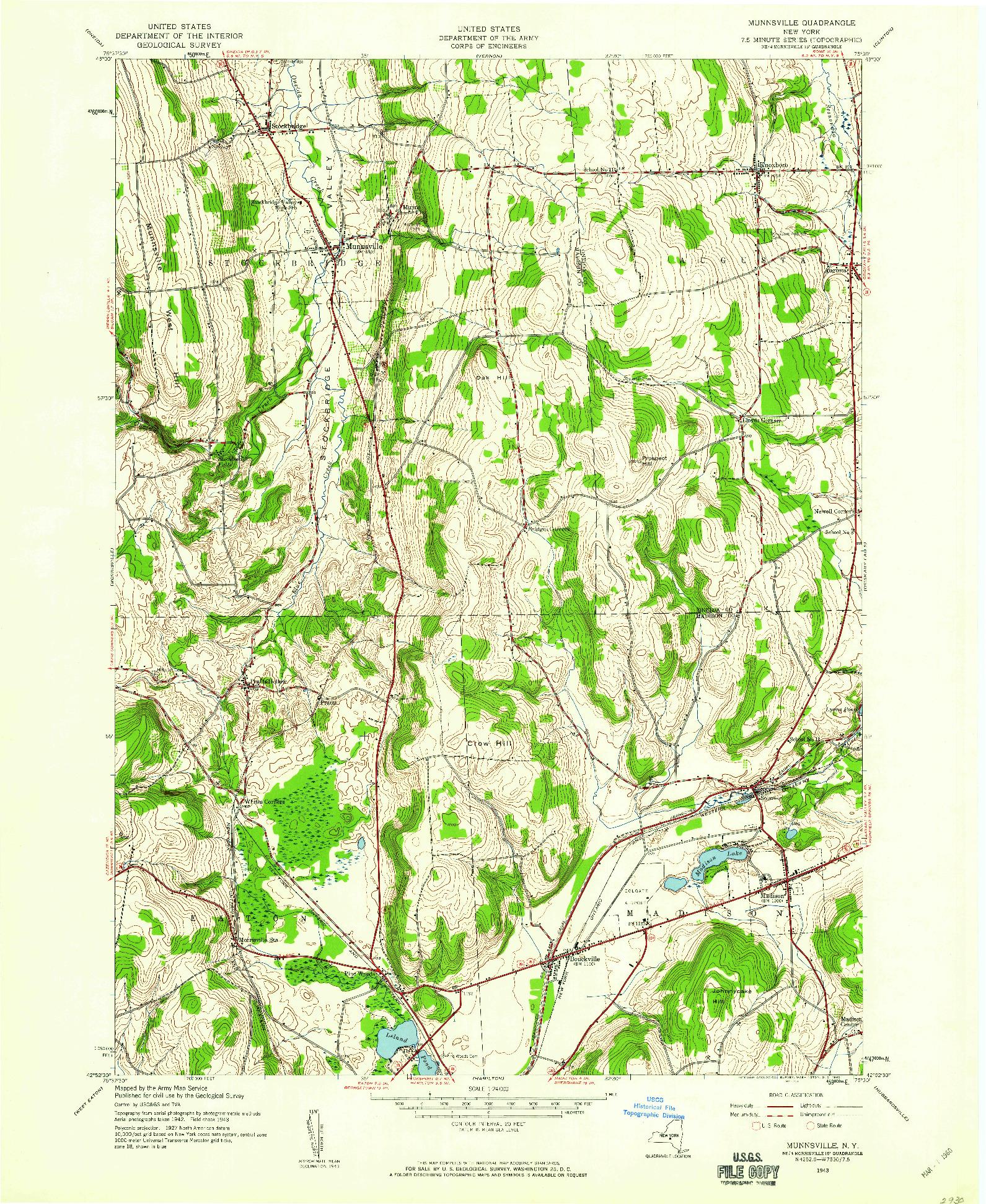 USGS 1:24000-SCALE QUADRANGLE FOR MUNNSVILLE, NY 1943