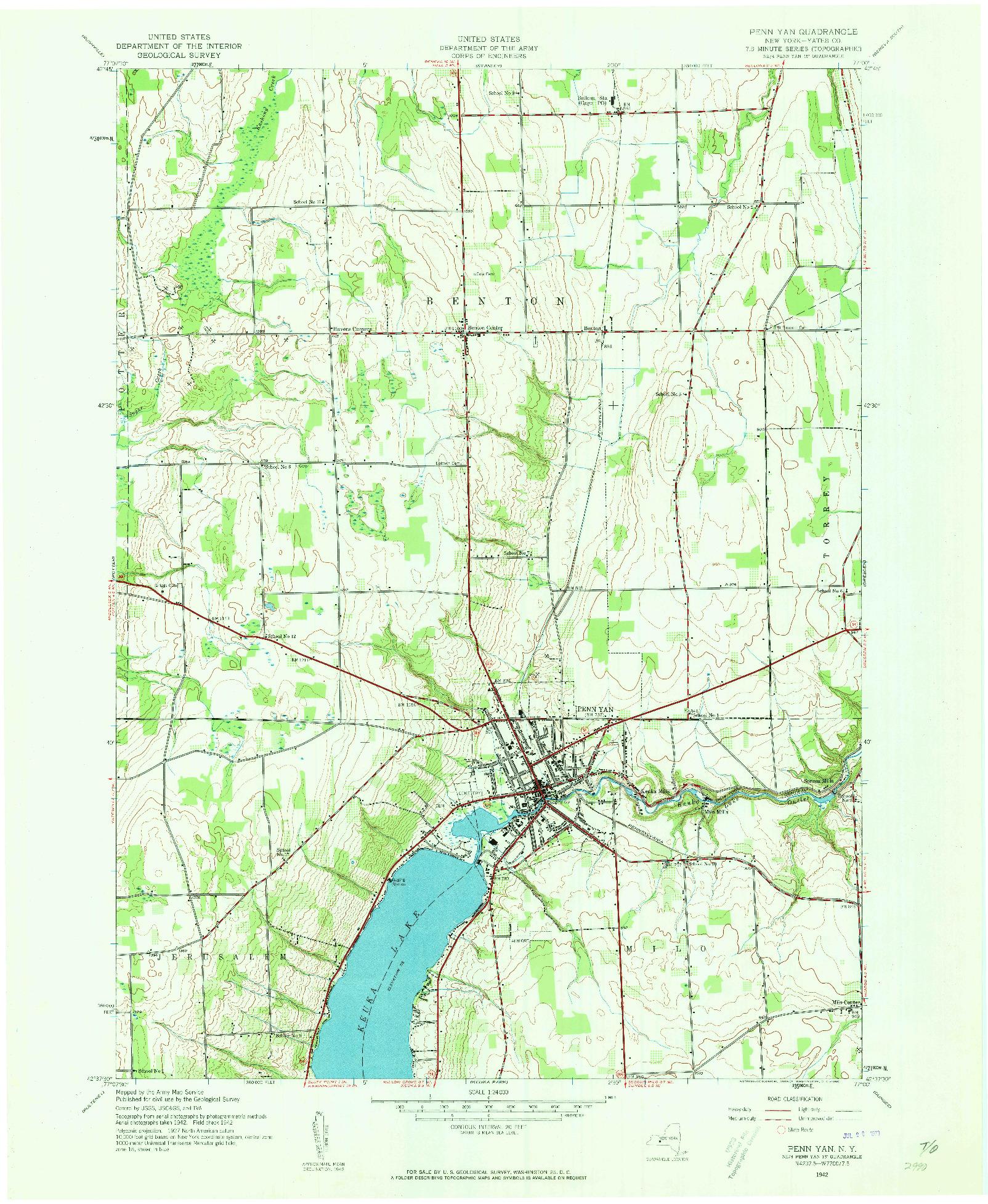 USGS 1:24000-SCALE QUADRANGLE FOR PENN YAN, NY 1942
