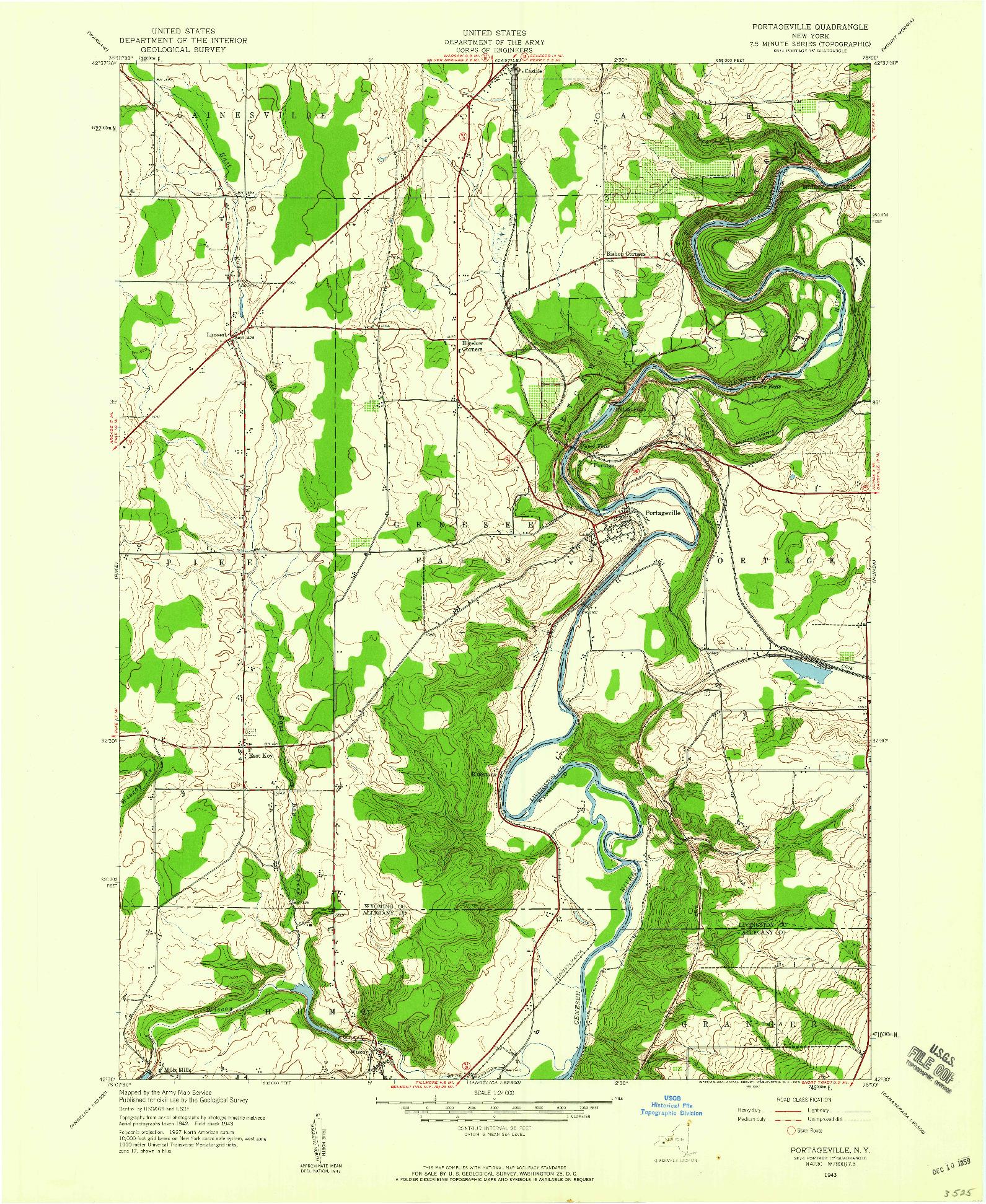 USGS 1:24000-SCALE QUADRANGLE FOR PORTAGEVILLE, NY 1943