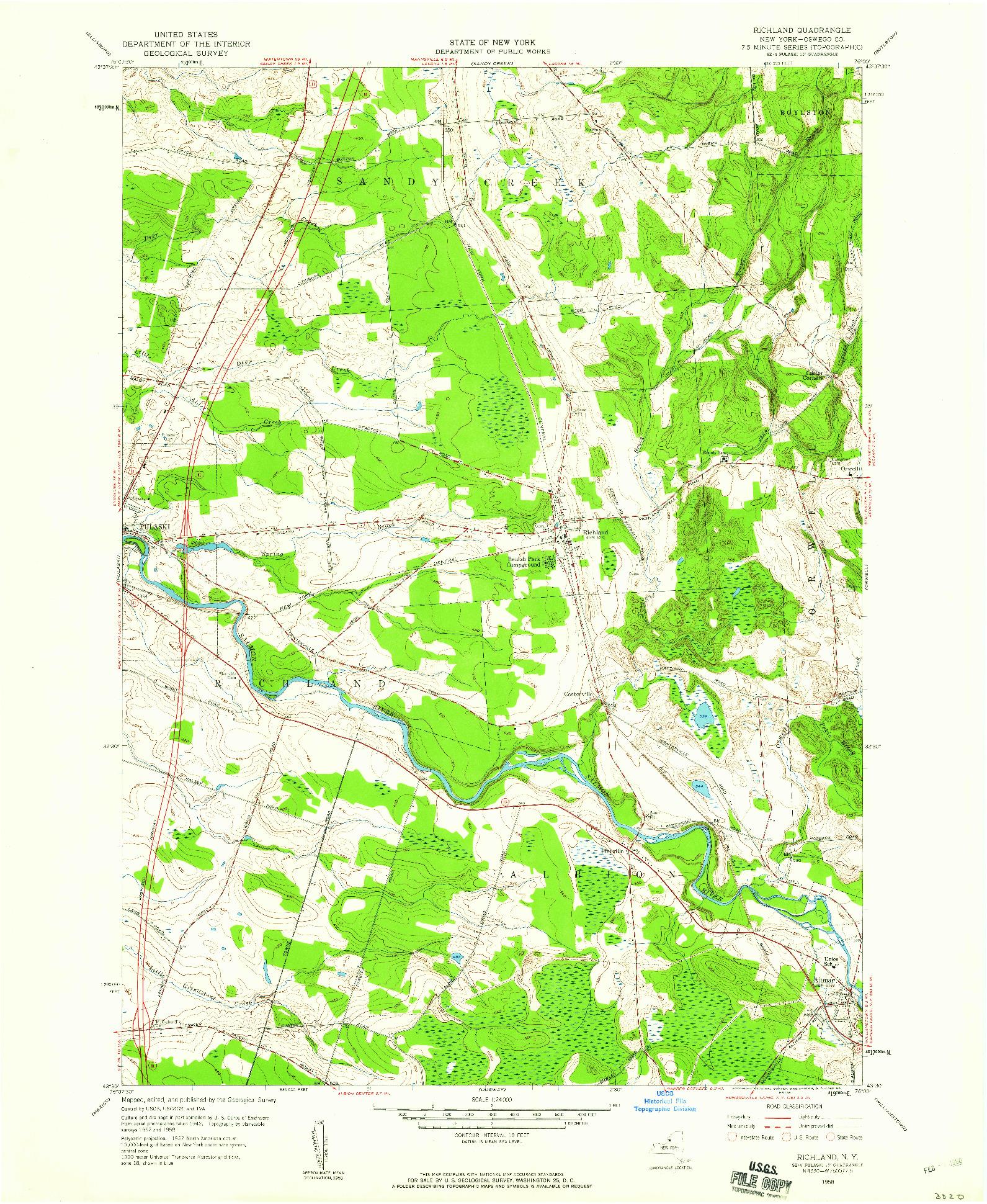 USGS 1:24000-SCALE QUADRANGLE FOR RICHLAND, NY 1958