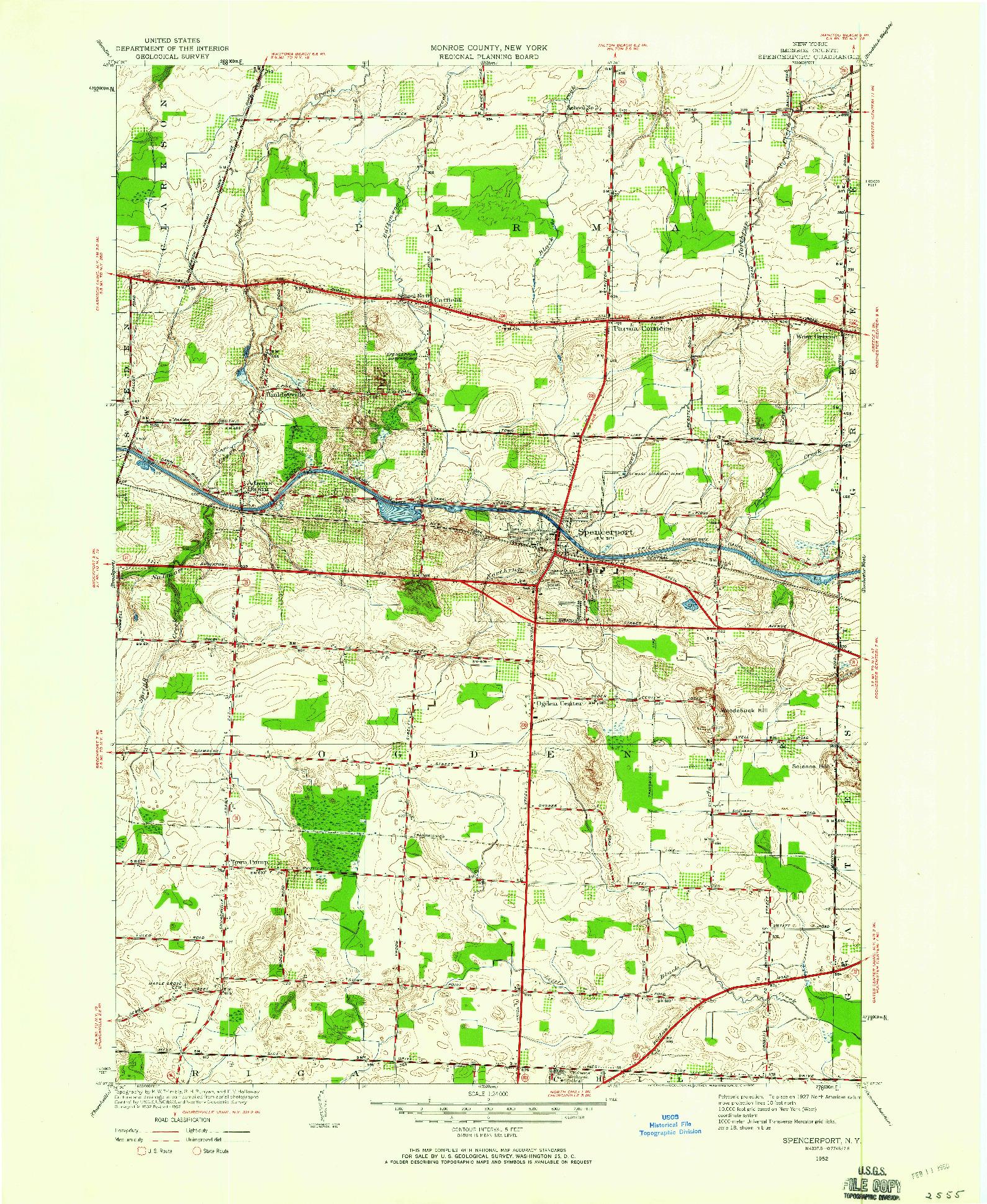 USGS 1:24000-SCALE QUADRANGLE FOR SPENCERPORT, NY 1952