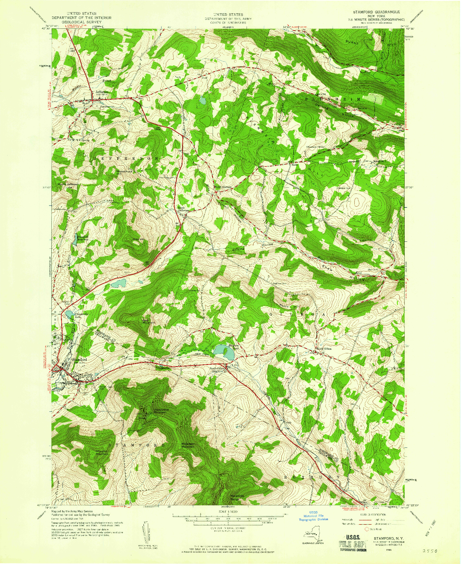 USGS 1:24000-SCALE QUADRANGLE FOR STAMFORD, NY 1945