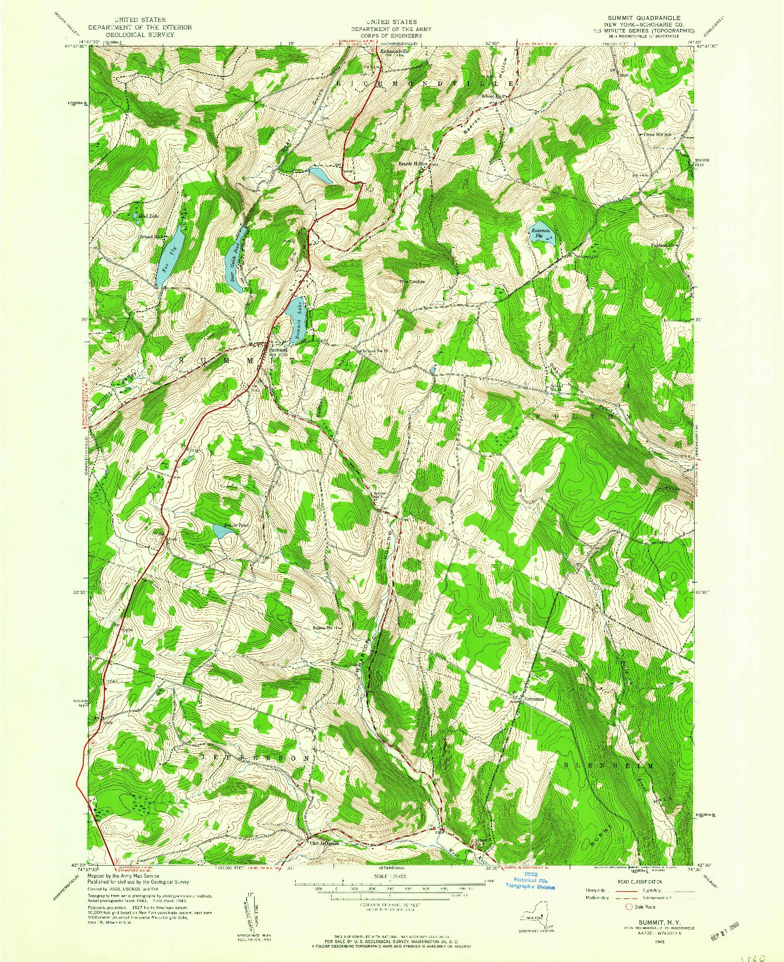 USGS 1:24000-SCALE QUADRANGLE FOR SUMMIT, NY 1943