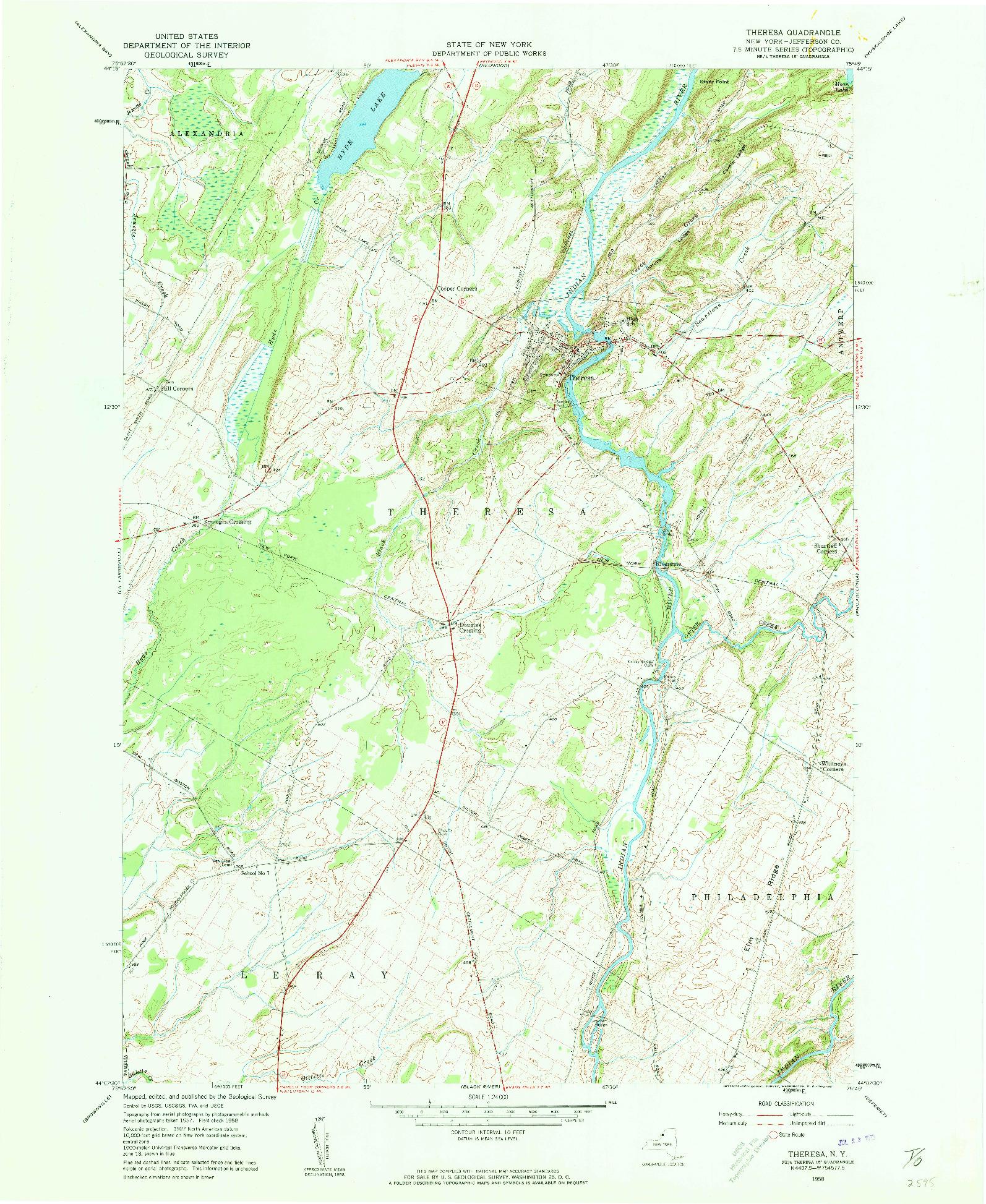 USGS 1:24000-SCALE QUADRANGLE FOR THERESA, NY 1958
