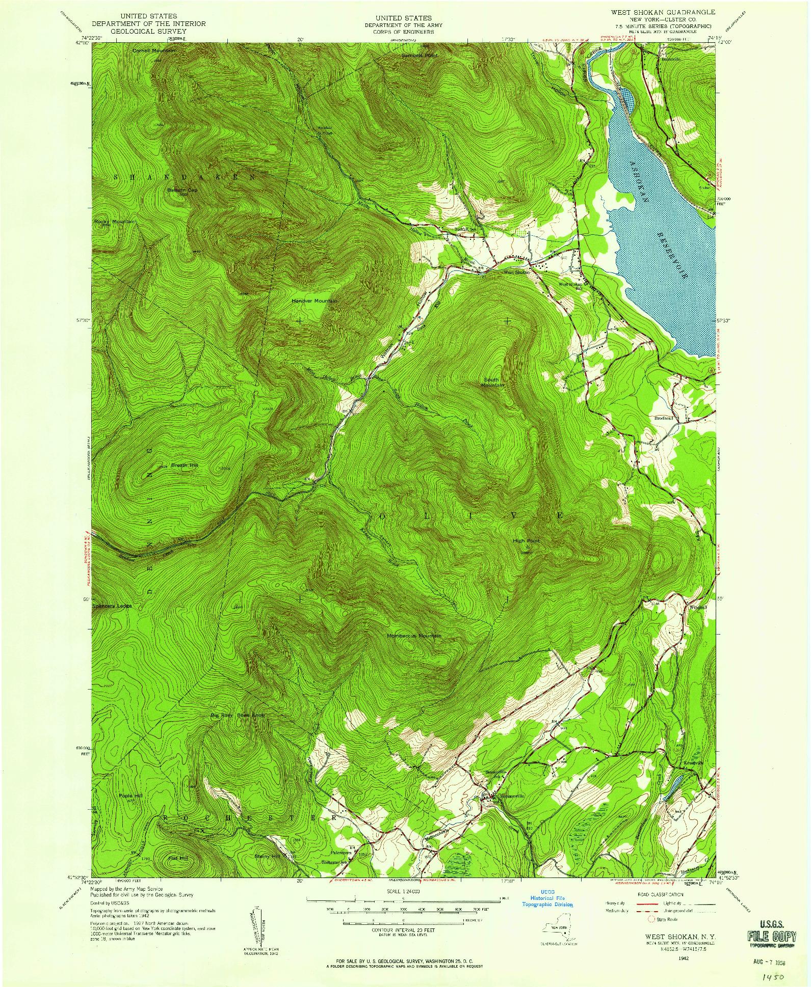 USGS 1:24000-SCALE QUADRANGLE FOR WEST SHOKAN, NY 1942