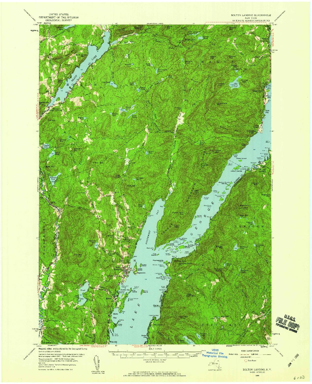 USGS 1:62500-SCALE QUADRANGLE FOR BOLTON LANDING, NY 1958