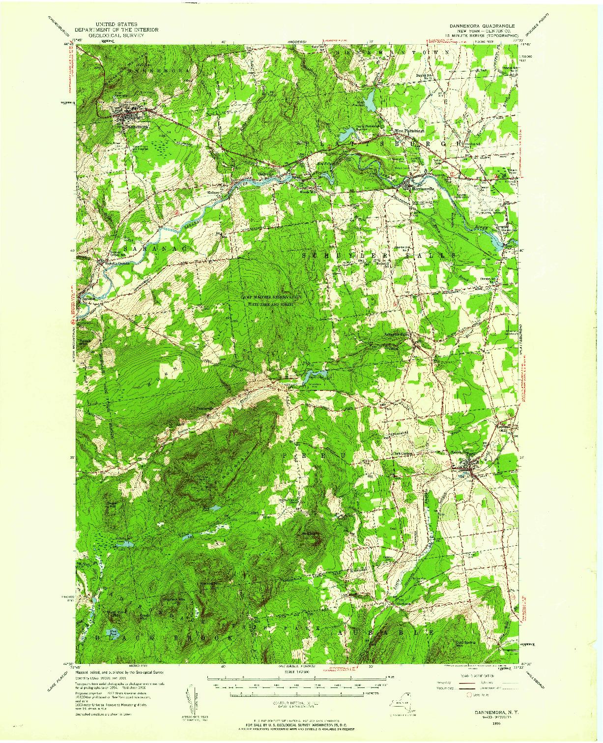 USGS 1:62500-SCALE QUADRANGLE FOR DANNEMORA, NY 1956