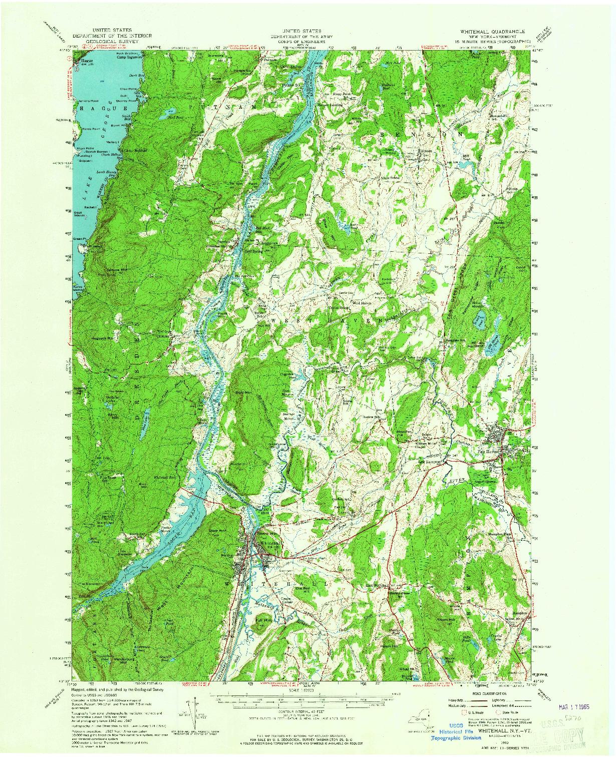USGS 1:62500-SCALE QUADRANGLE FOR WHITEHALL, NY 1950