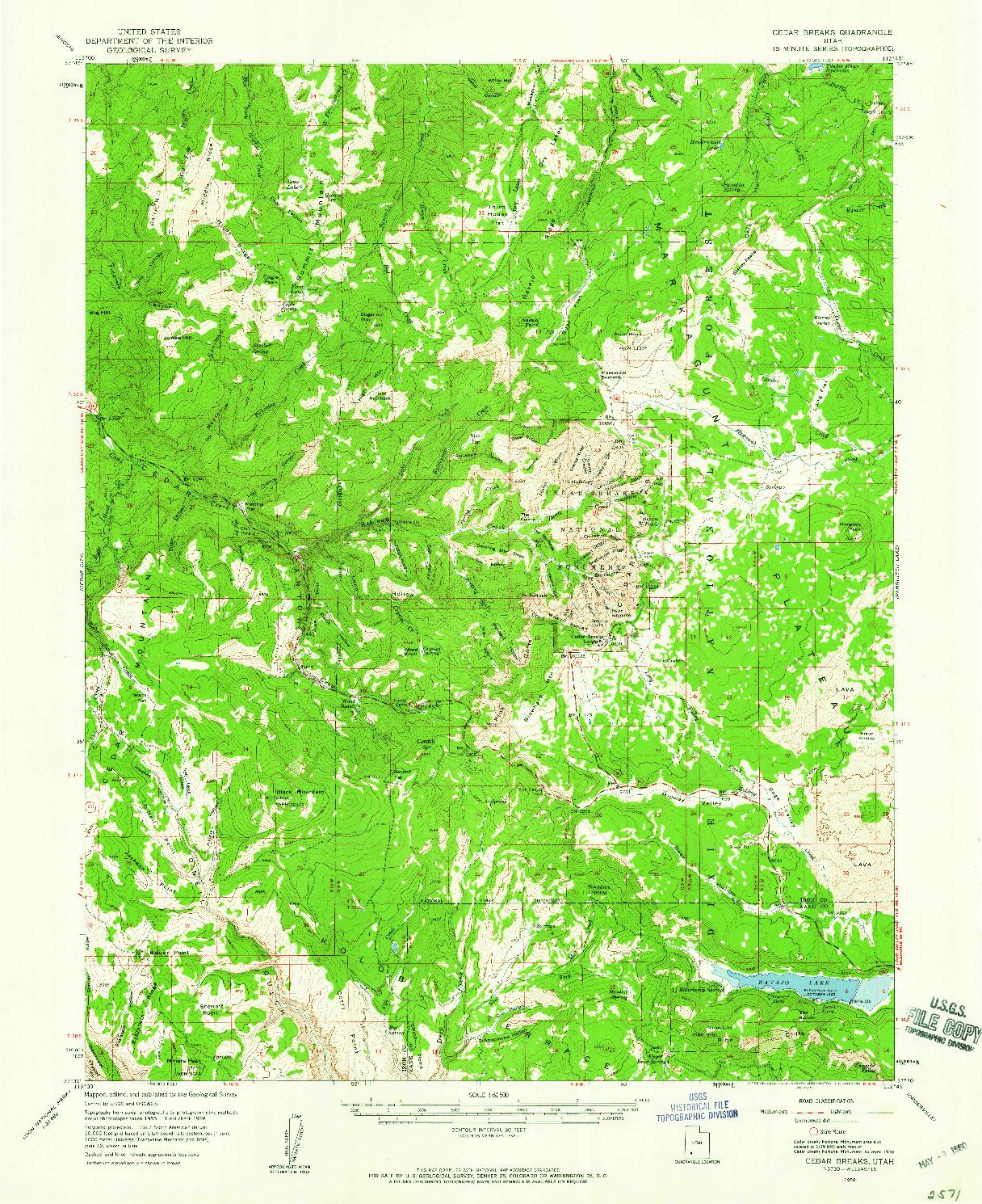 USGS 1:62500-SCALE QUADRANGLE FOR CEDAR BREAKS, UT 1958