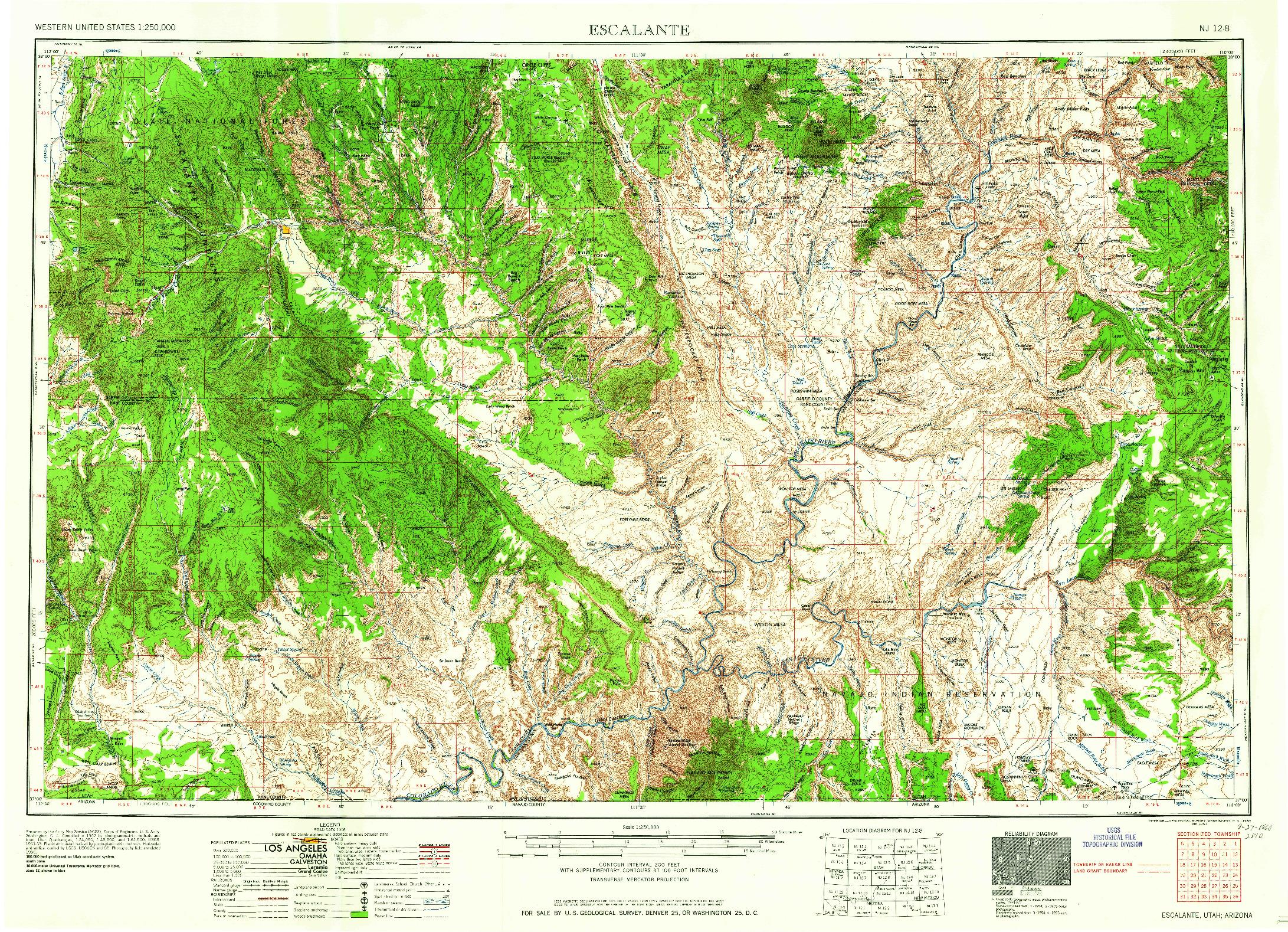 USGS 1:250000-SCALE QUADRANGLE FOR ESCALANTE, UT 1960