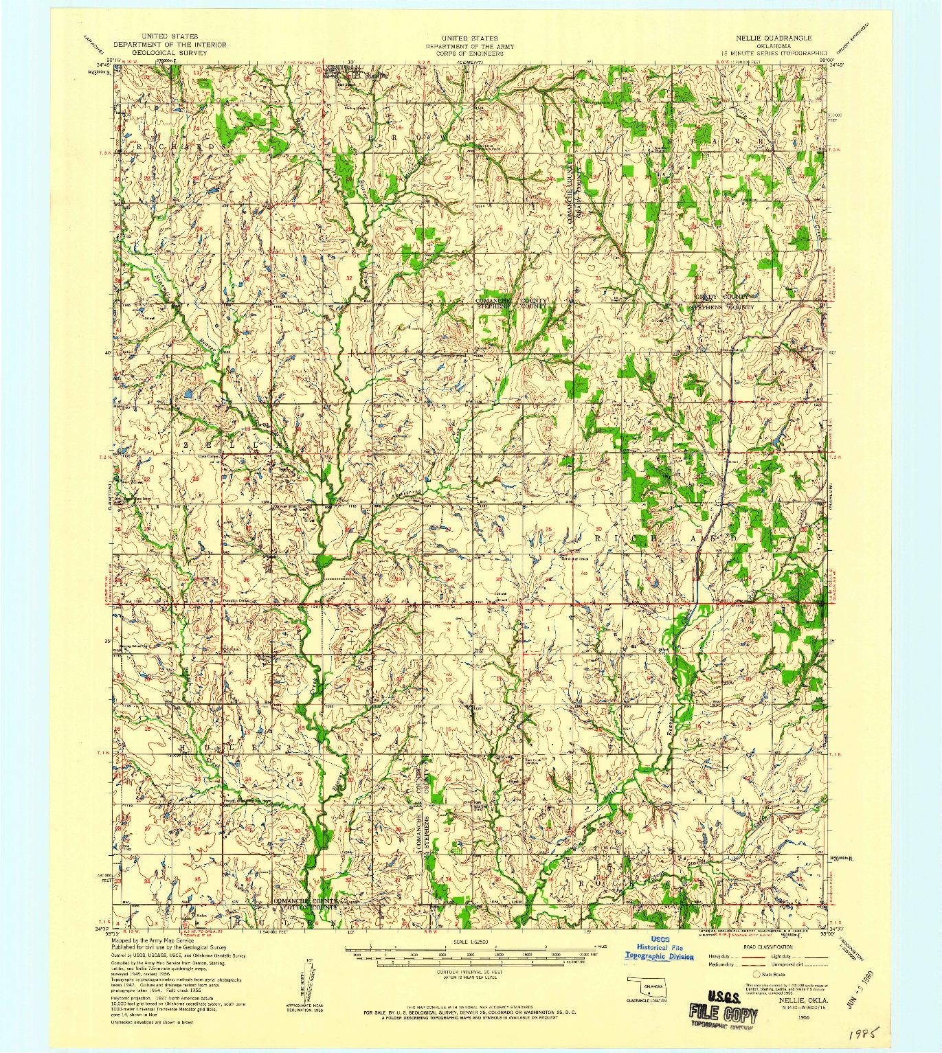 USGS 1:62500-SCALE QUADRANGLE FOR NELLIE, OK 1956