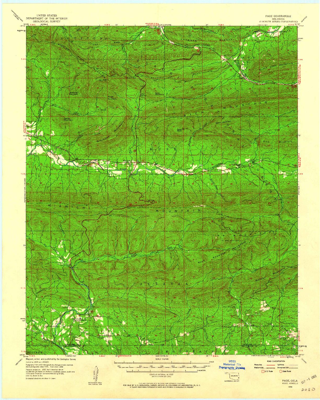 USGS 1:62500-SCALE QUADRANGLE FOR PAGE, OK 1959