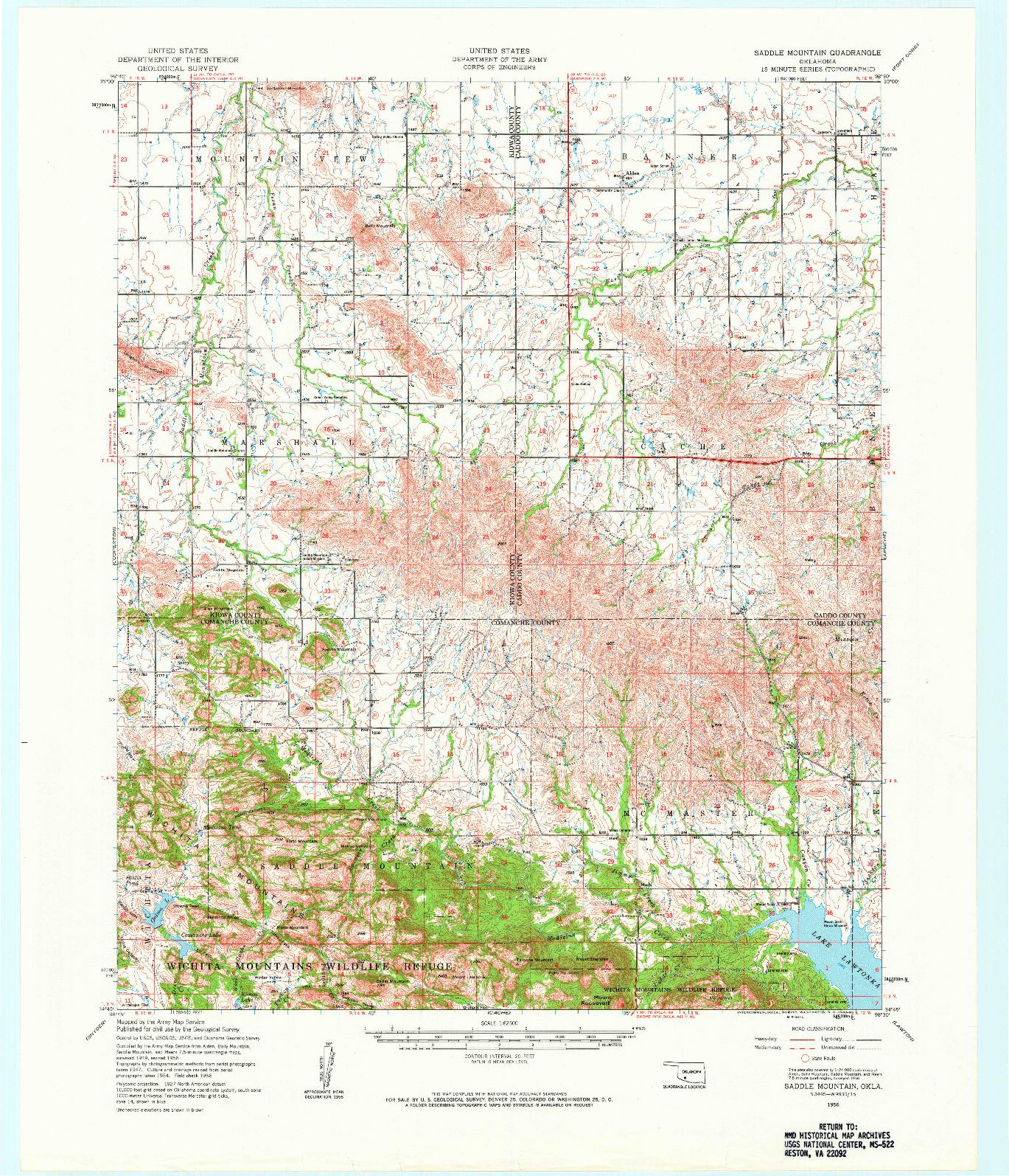 USGS 1:62500-SCALE QUADRANGLE FOR SADDLE MOUNTAIN, OK 1956