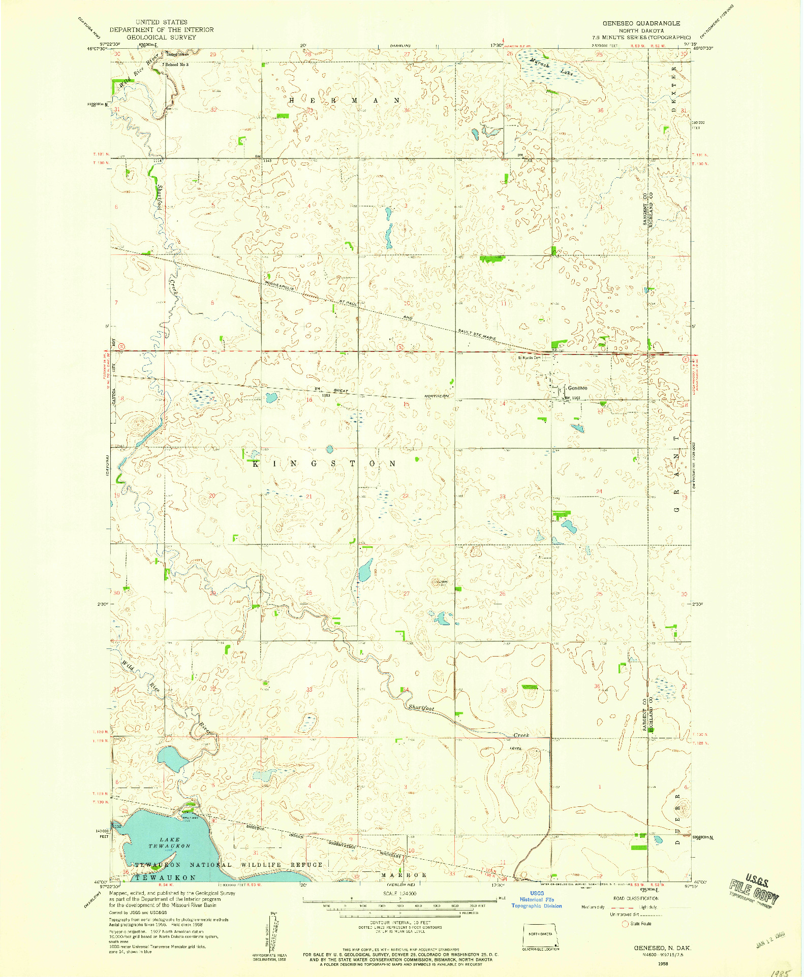 USGS 1:24000-SCALE QUADRANGLE FOR GENESEO, ND 1958