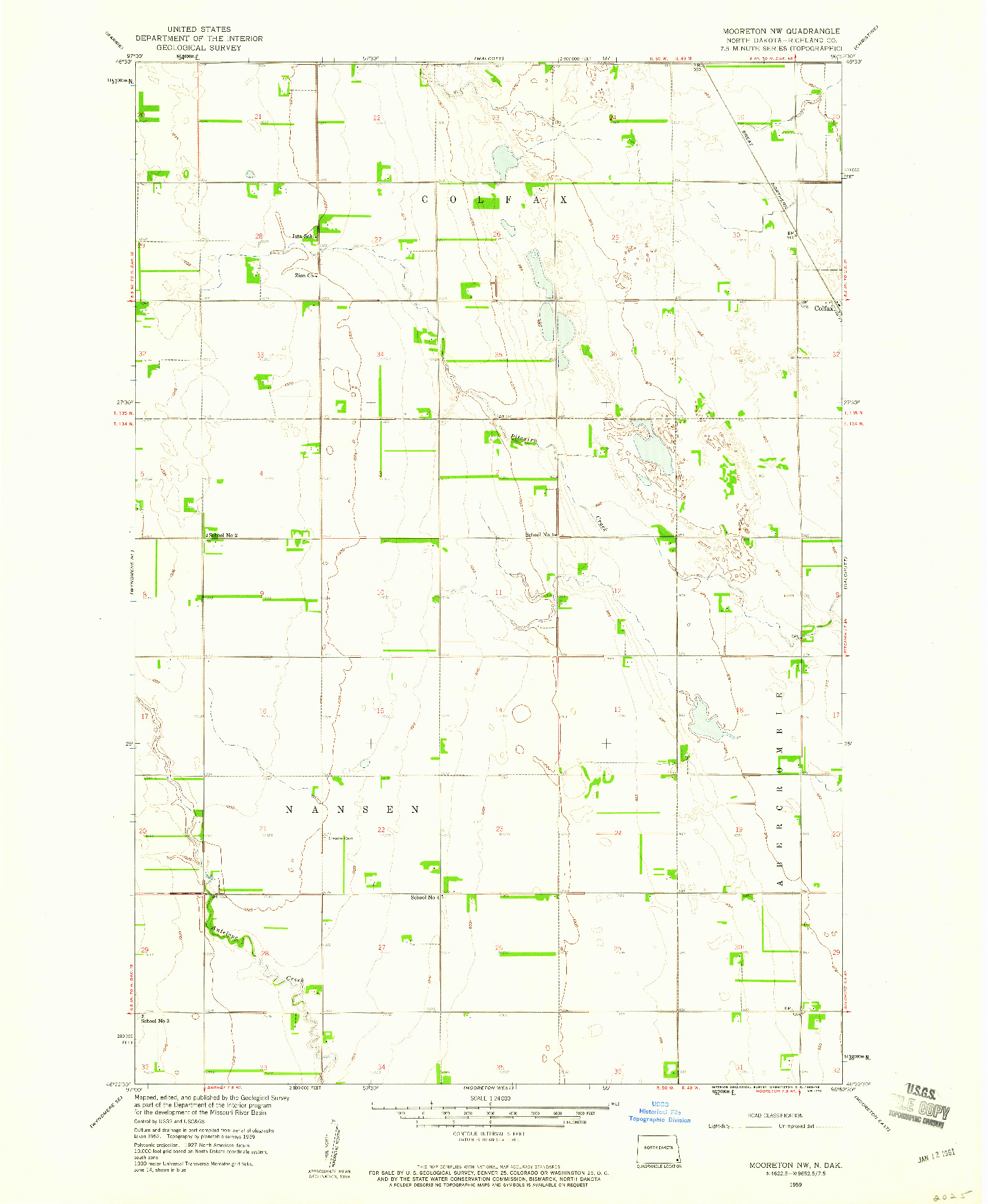 USGS 1:24000-SCALE QUADRANGLE FOR MOORETON NW, ND 1959