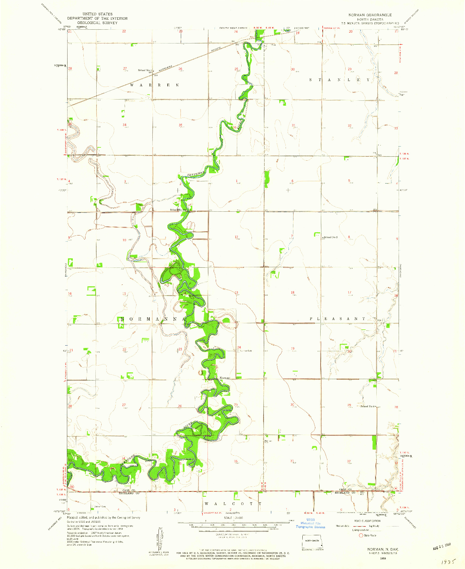 USGS 1:24000-SCALE QUADRANGLE FOR NORMAN, ND 1959