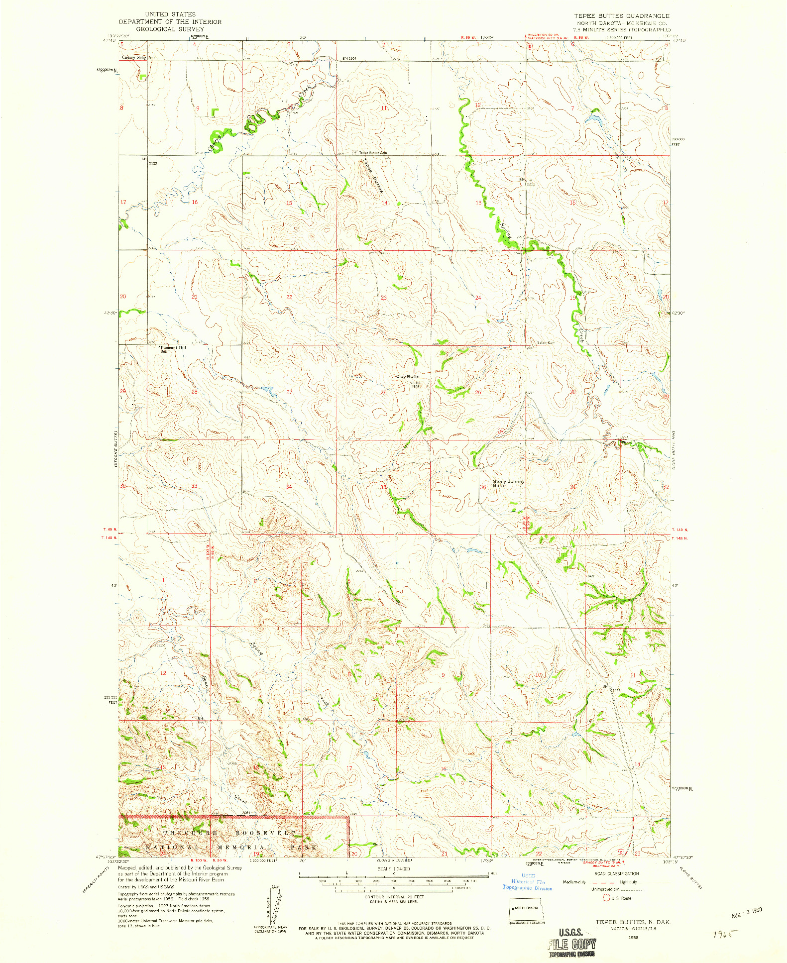 USGS 1:24000-SCALE QUADRANGLE FOR TEPEE BUTTES, ND 1958