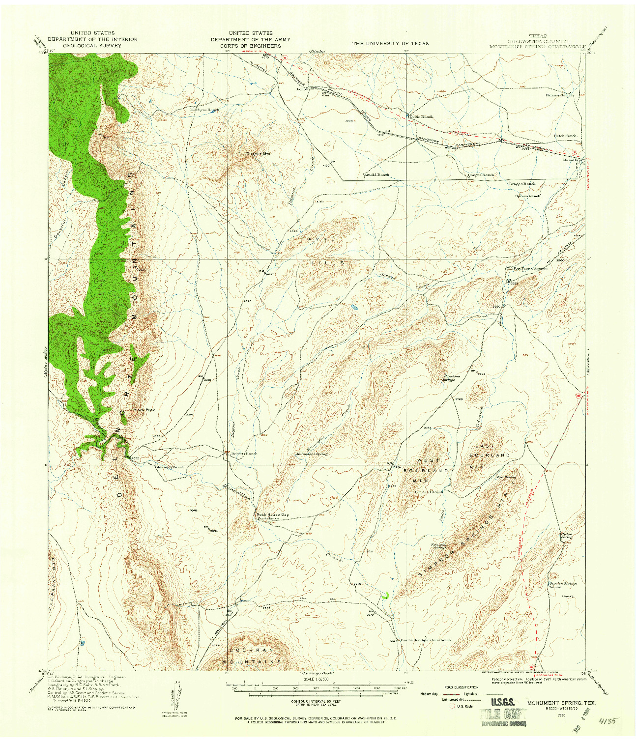 USGS 1:62500-SCALE QUADRANGLE FOR MONUMENT SPRING, TX 1920