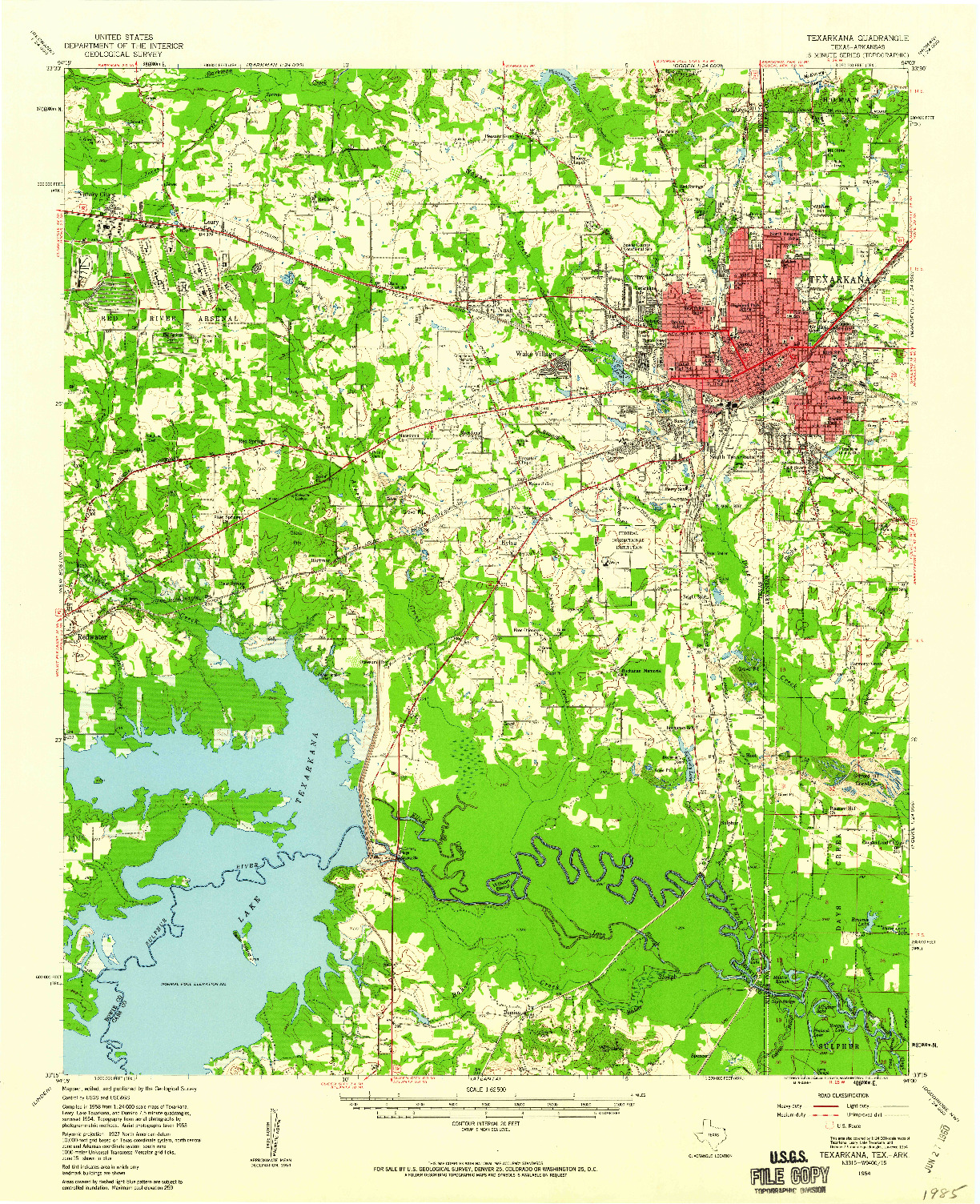 USGS 1:62500-SCALE QUADRANGLE FOR TEXARKANA, TX 1954