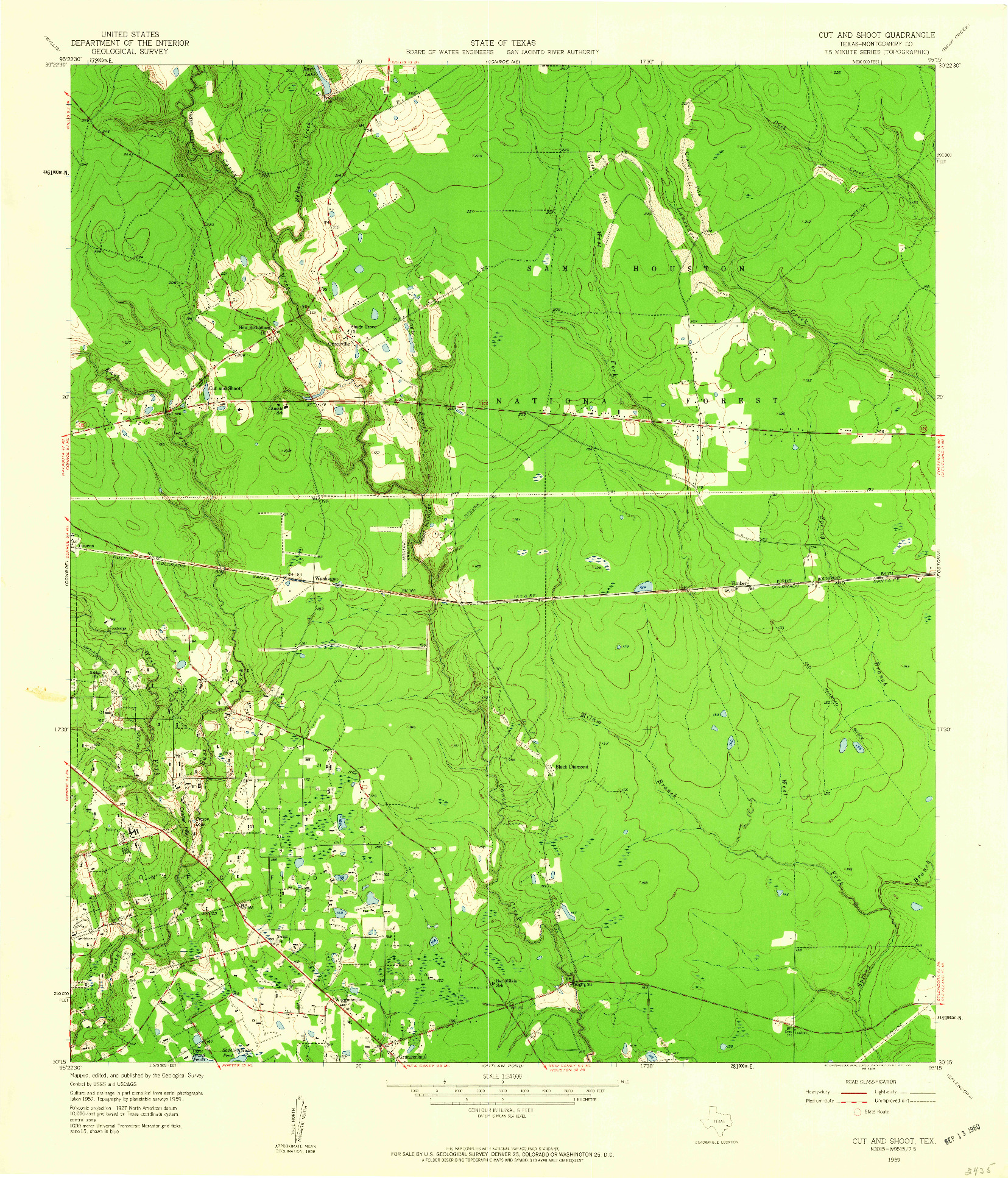 USGS 1:24000-SCALE QUADRANGLE FOR CUT AND SHOOT, TX 1959