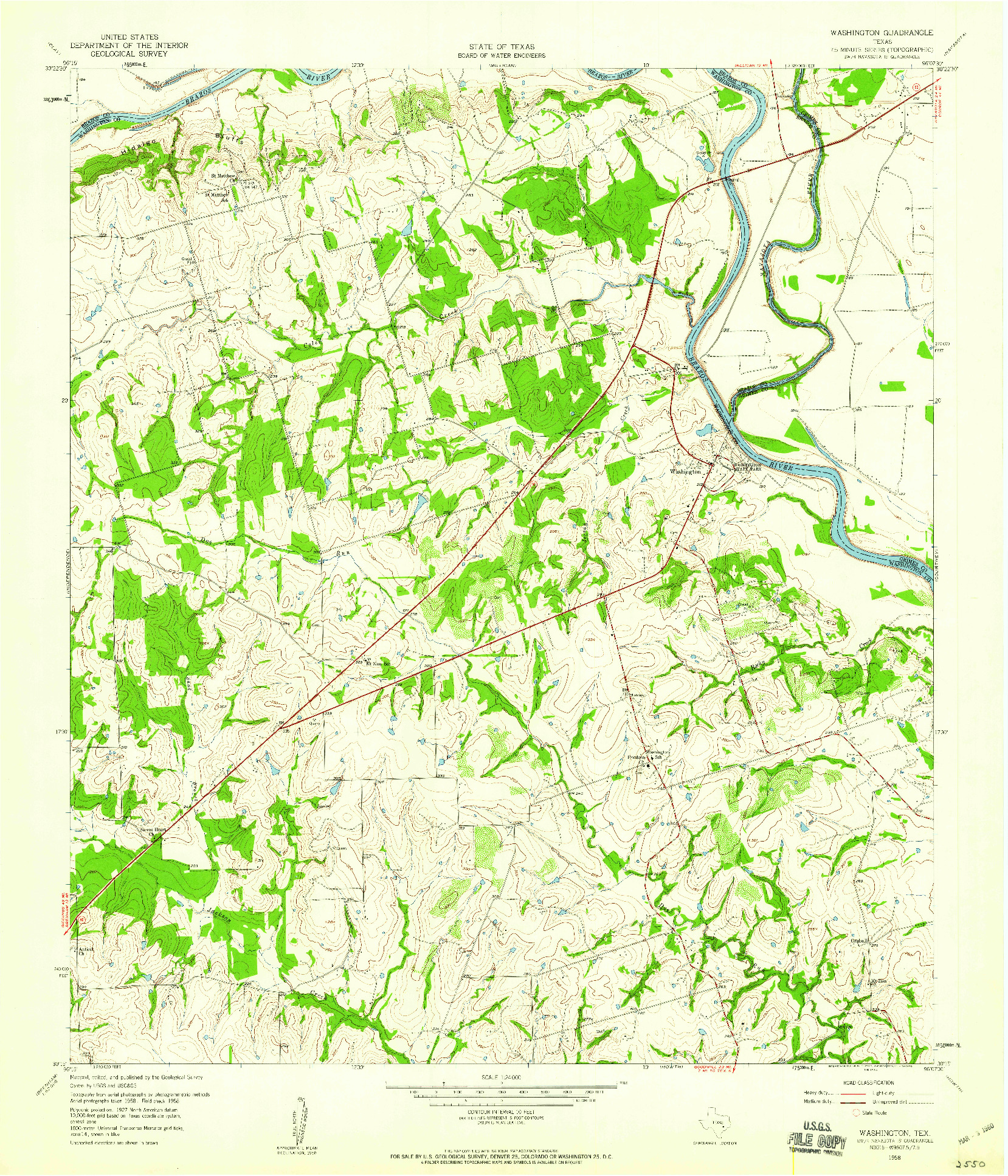 USGS 1:24000-SCALE QUADRANGLE FOR WASHINGTON, TX 1958