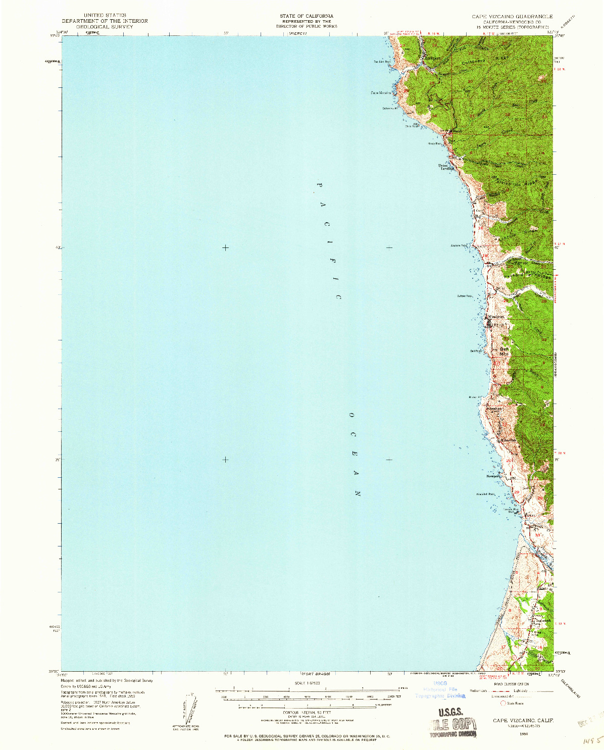 USGS 1:62500-SCALE QUADRANGLE FOR CAPE VIZCAINO, CA 1950