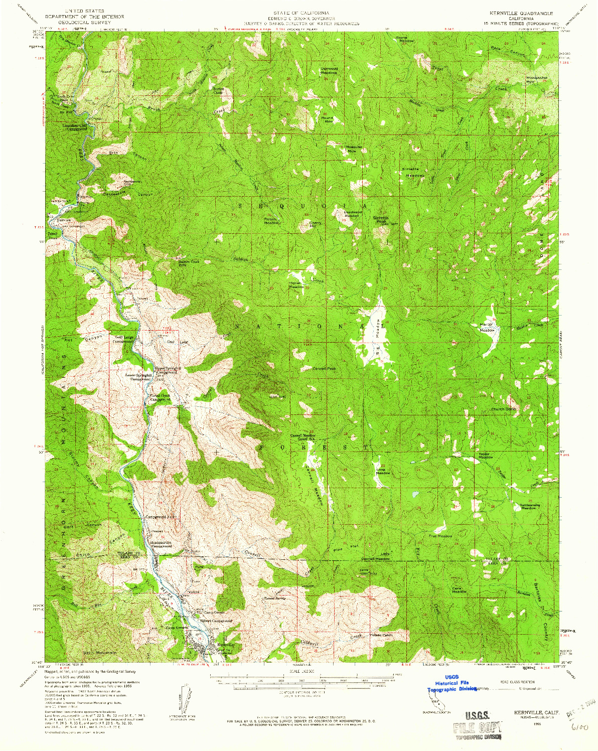 USGS 1:62500-SCALE QUADRANGLE FOR KERNVILLE, CA 1956