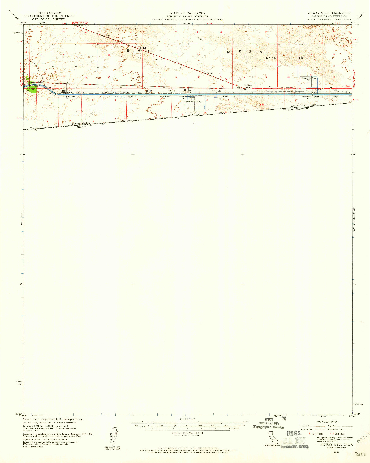 USGS 1:62500-SCALE QUADRANGLE FOR MIDWAY WELL, CA 1954