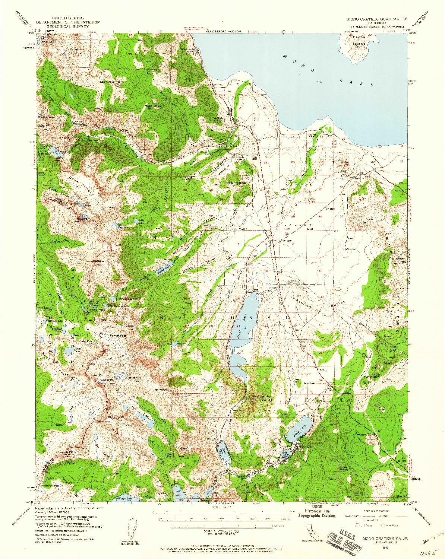USGS 1:62500-SCALE QUADRANGLE FOR MONO CRATERS, CA 1953