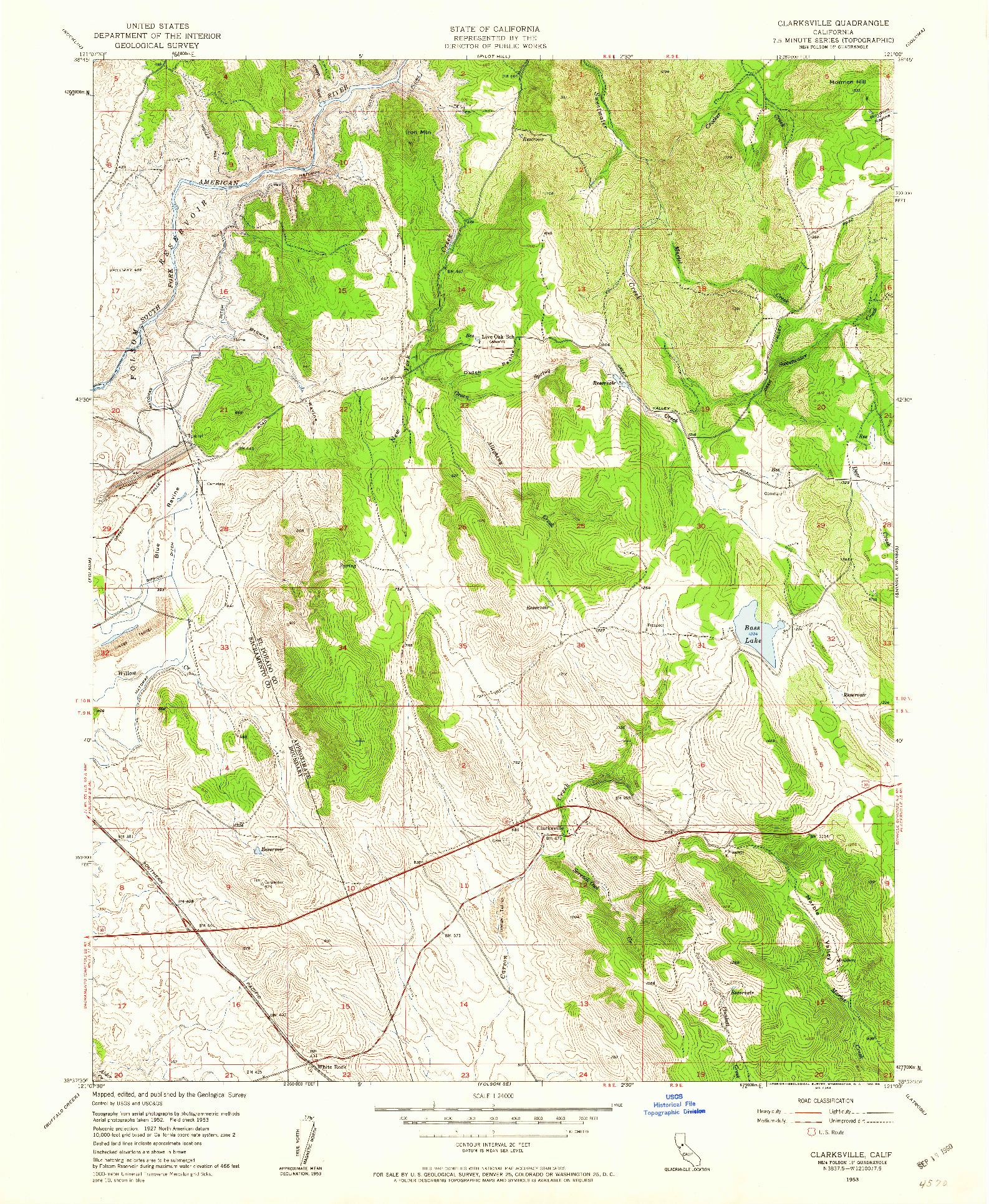 USGS 1:24000-SCALE QUADRANGLE FOR CLARKSVILLE, CA 1953